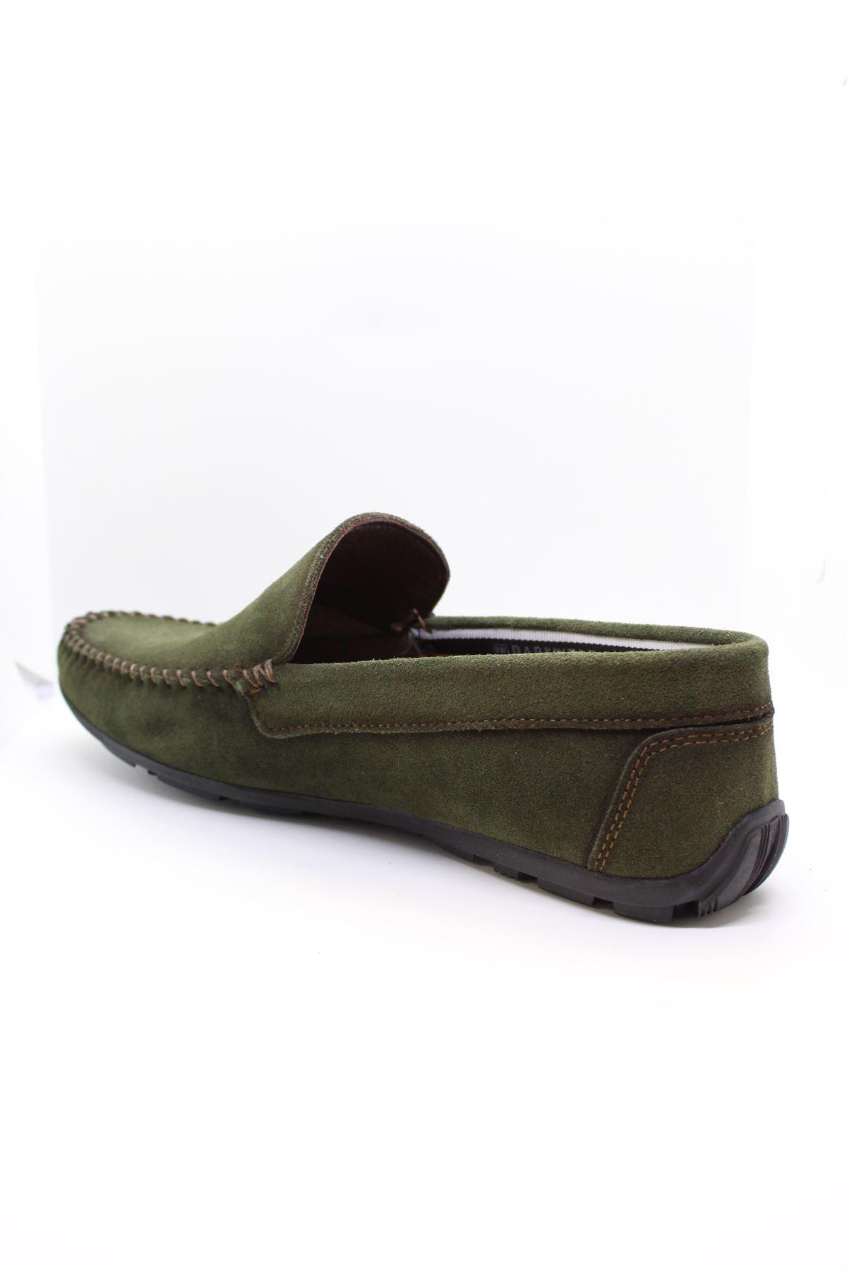 Darkwood  94507 Tokalı Hakiki Deri Süet Yeşil Günlük Erkek Ayakkabı
