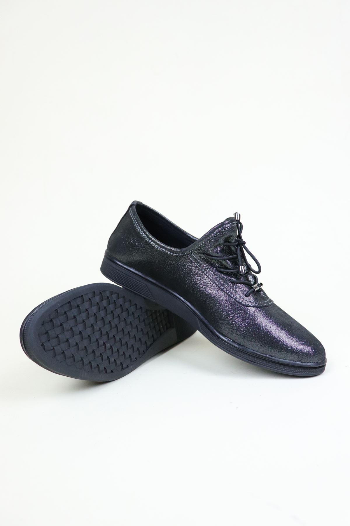 Trend Ayakkabı 0135 Çelik Simli  Kadın Ayakkabı