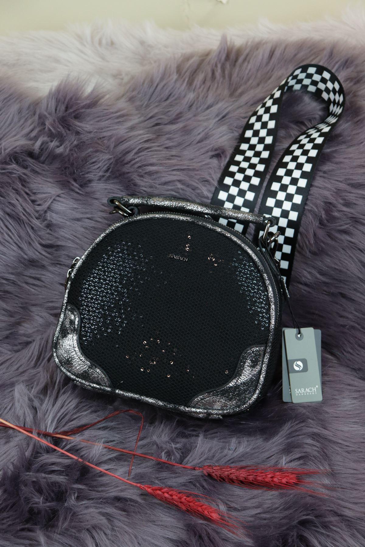 Sarach-K20SRC269 Siyah Taşlı Kadın Kol Çantası