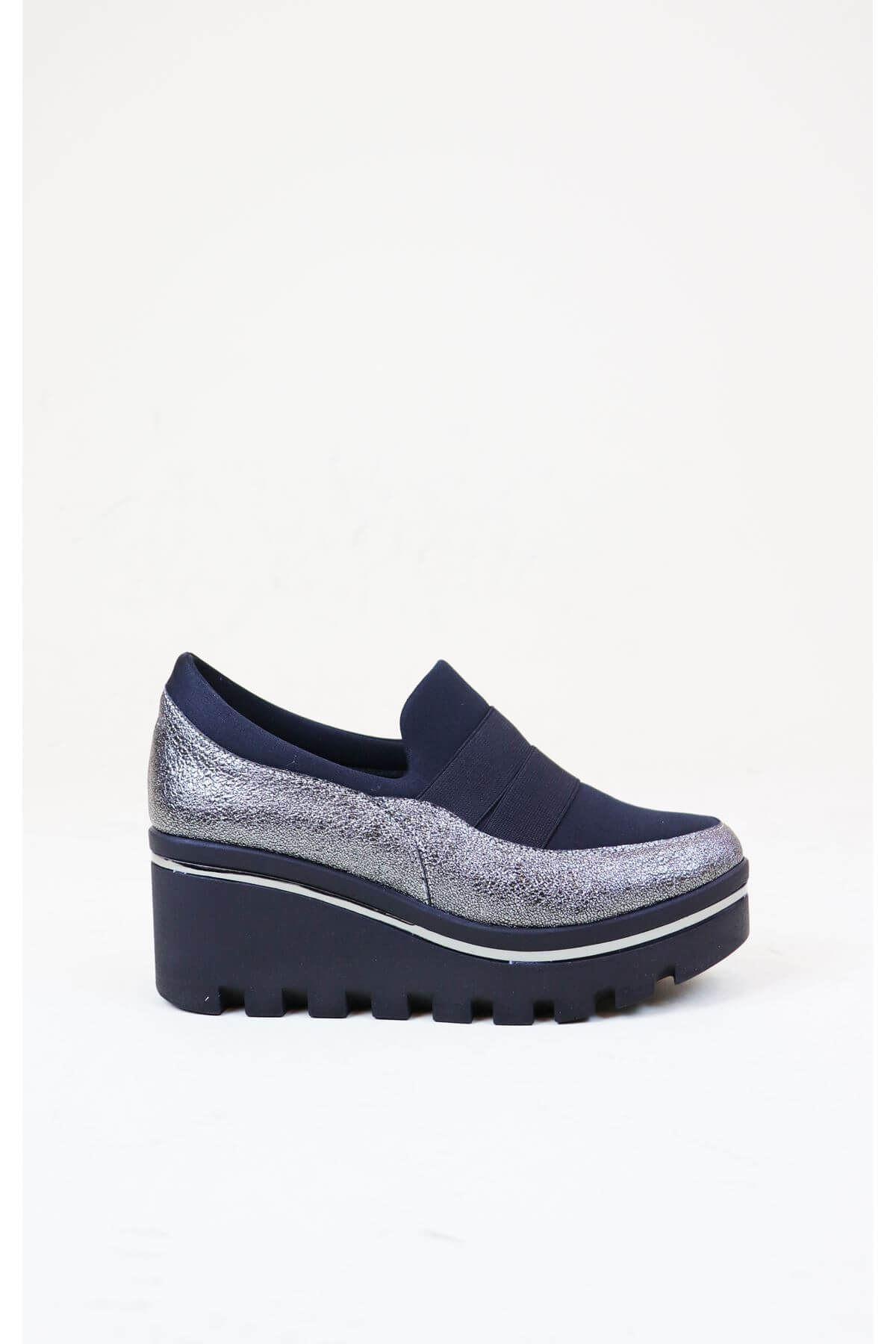 Trend Ayakkabı 1009 Kadın Platin Dolgu Topuk Ayakkabısı