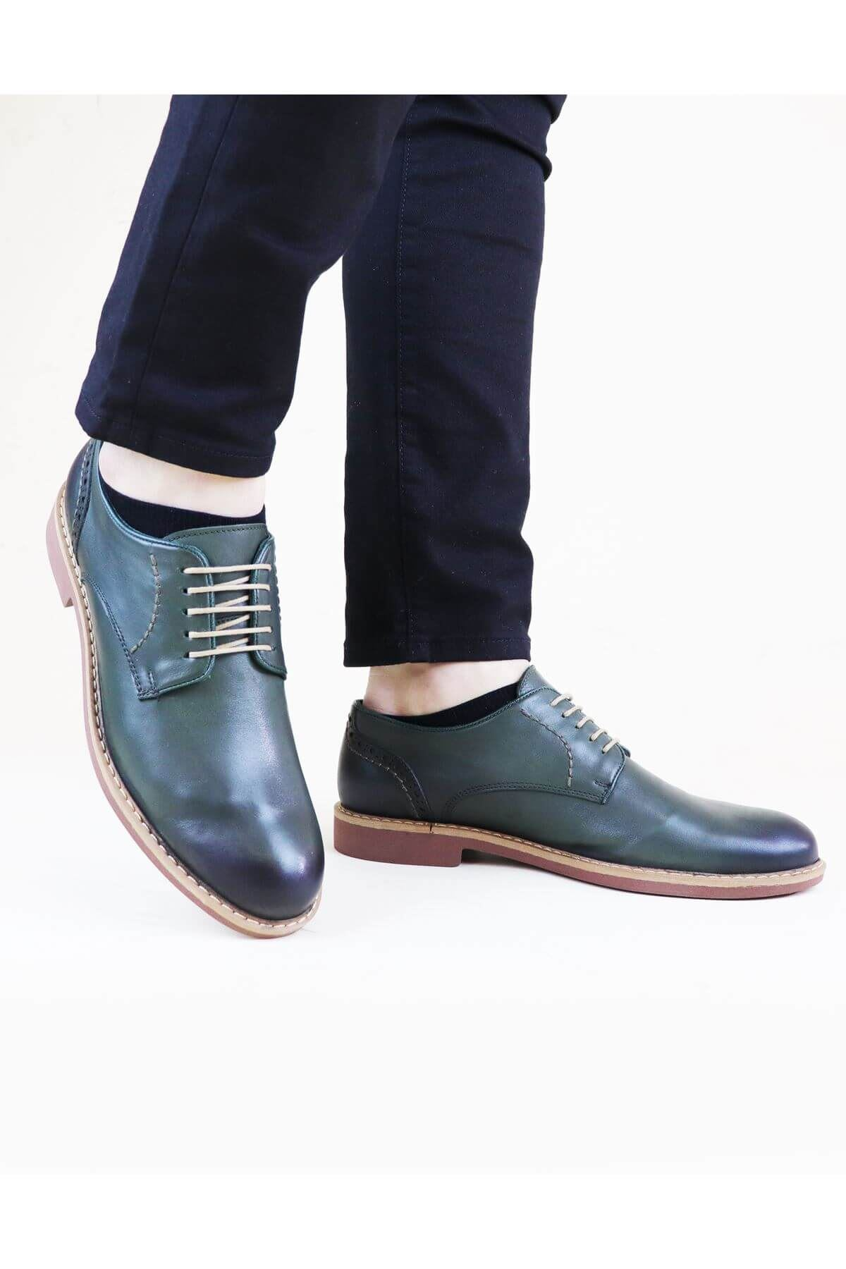 Free Foot 2650 Yeşil  Hakiki Deri Erkek Ayakkabısı