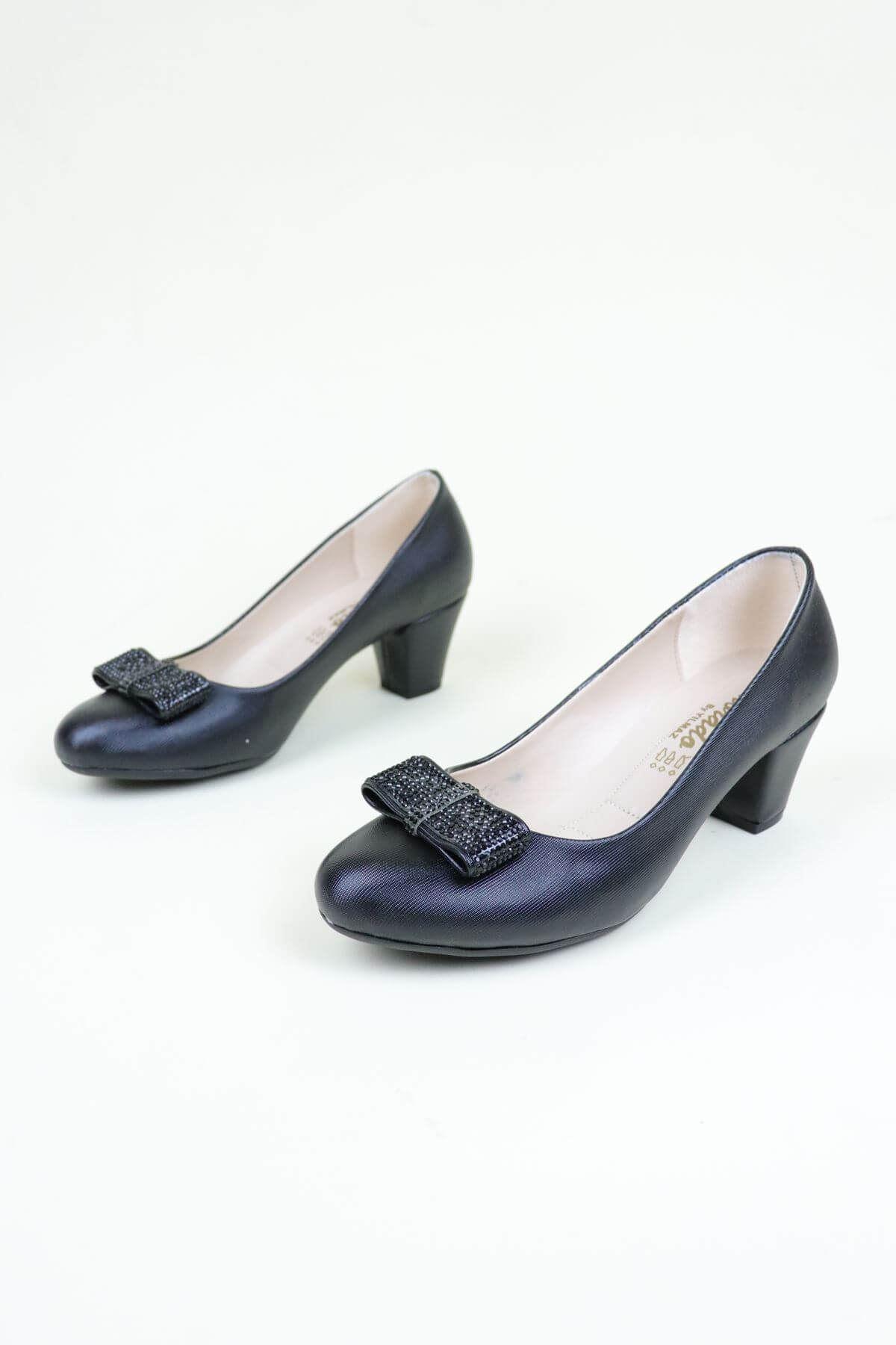 Trend Ayakkabı 0137 Siyah Taşlı Kadın Ayakkabı