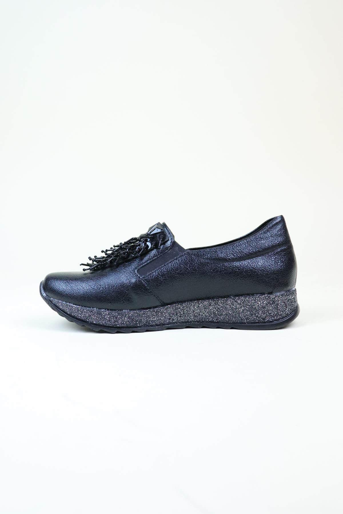 Trend Ayakkabı 0129 Püsküllü  Siyah Kadın Ayakkabı