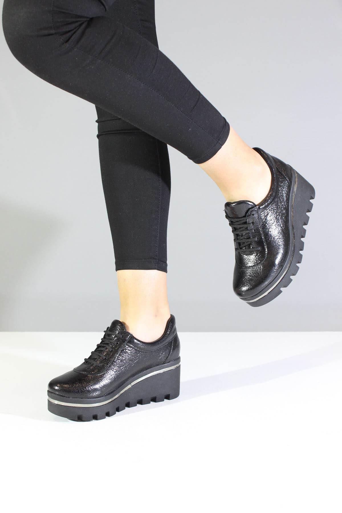 Trend Ayakkabı 0080 Siyah Kadın Dolgu Topuk Ayakkabı