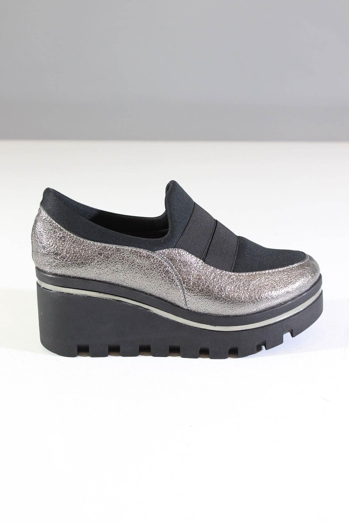 Trend Ayakkabı 0056  Dolgu Topuk Platin Simli Kadın Ayakkabı