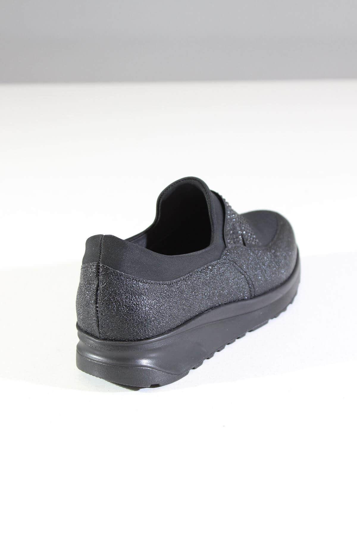 Trend Ayakkabı 0055 Siyah Simli Ayakkabı