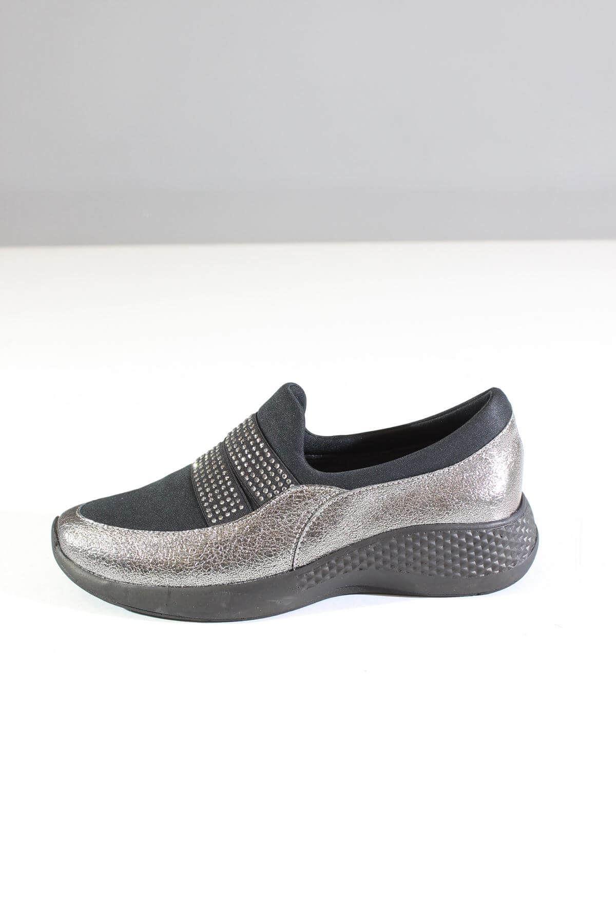 Trend Ayakkabı 0055 Platin Simli Kadın Ayakkabı