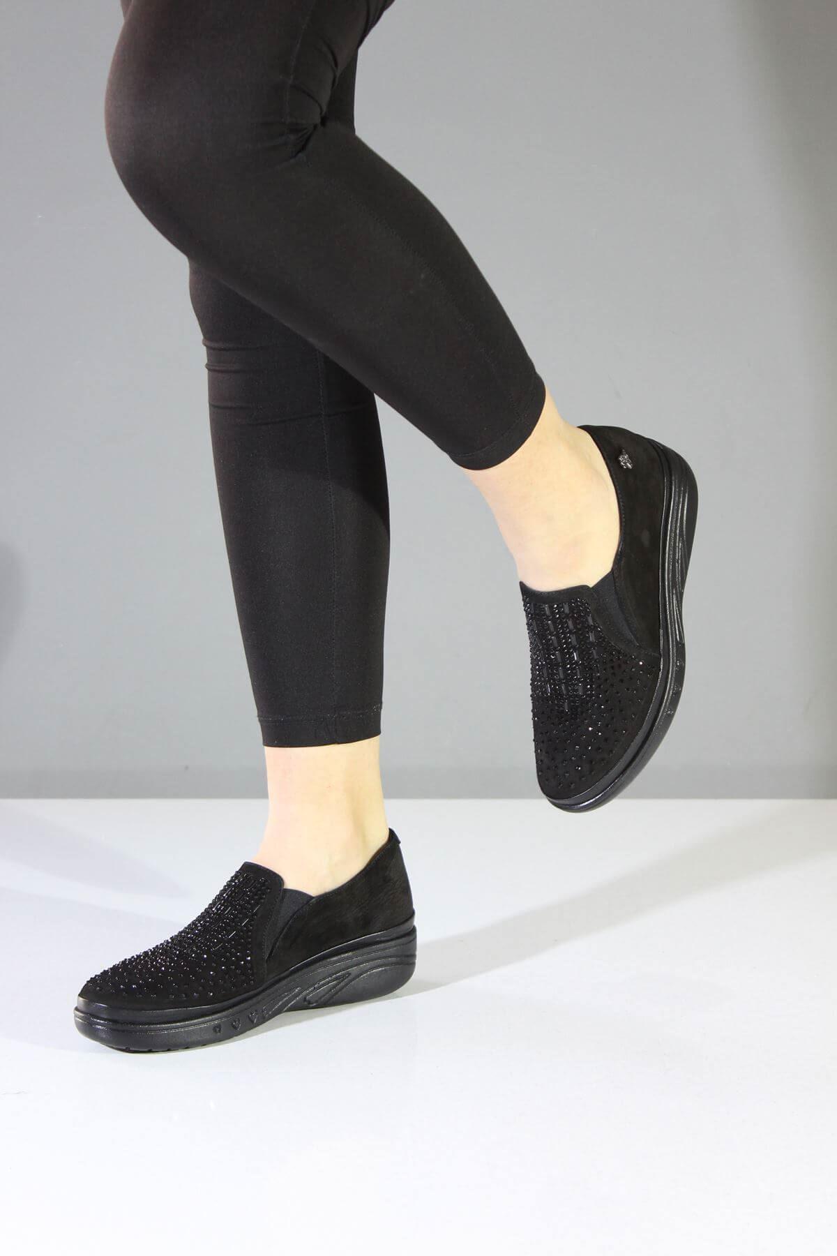 Venüs 1820504K Airflow Siyah Hakiki Deri Günlük Kadın Ayakkabı
