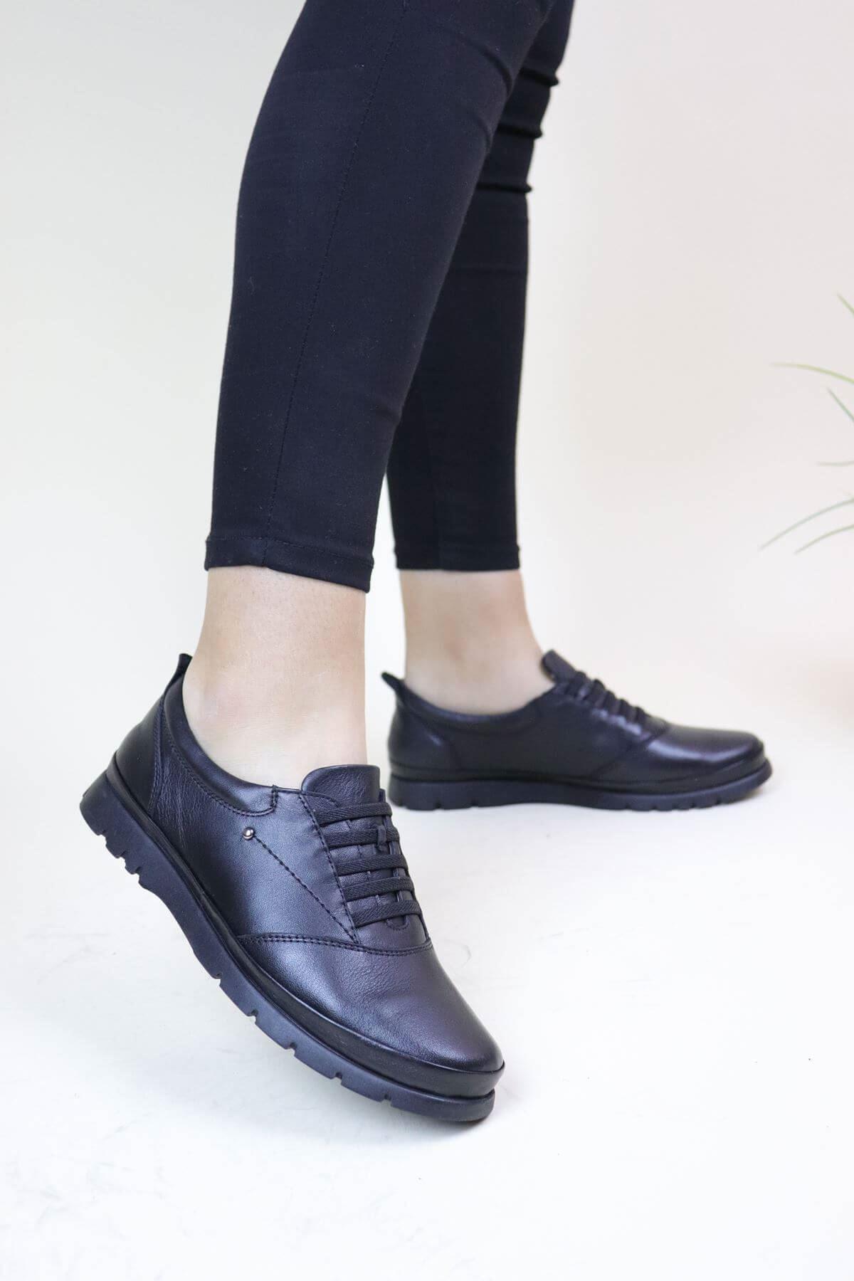 Venüs 1813650K Siyah Hakiki Deri Günlük Kadın  Ayakkabı