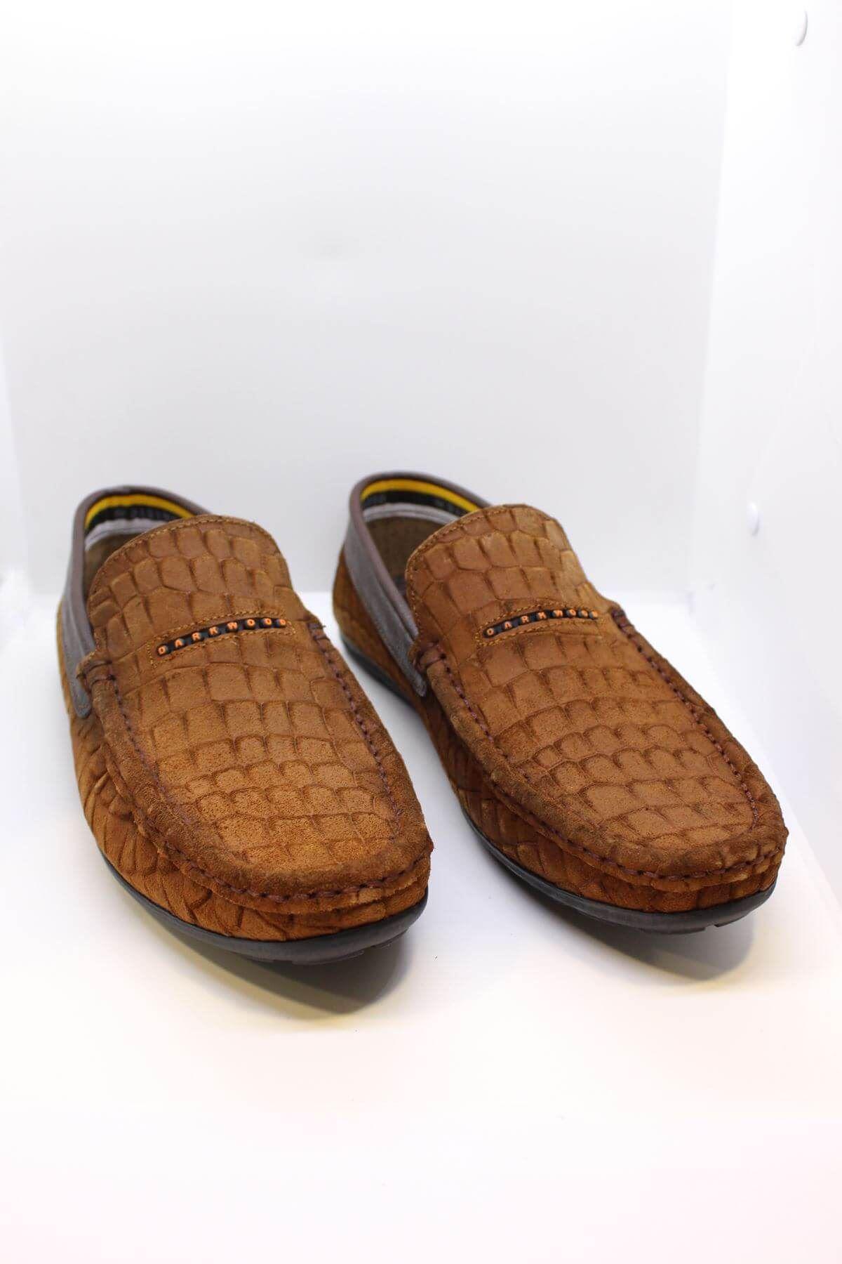 Darkwood  94514 Hakiki Deri Süet Desenli Taba Günlük Erkek Ayakkabı