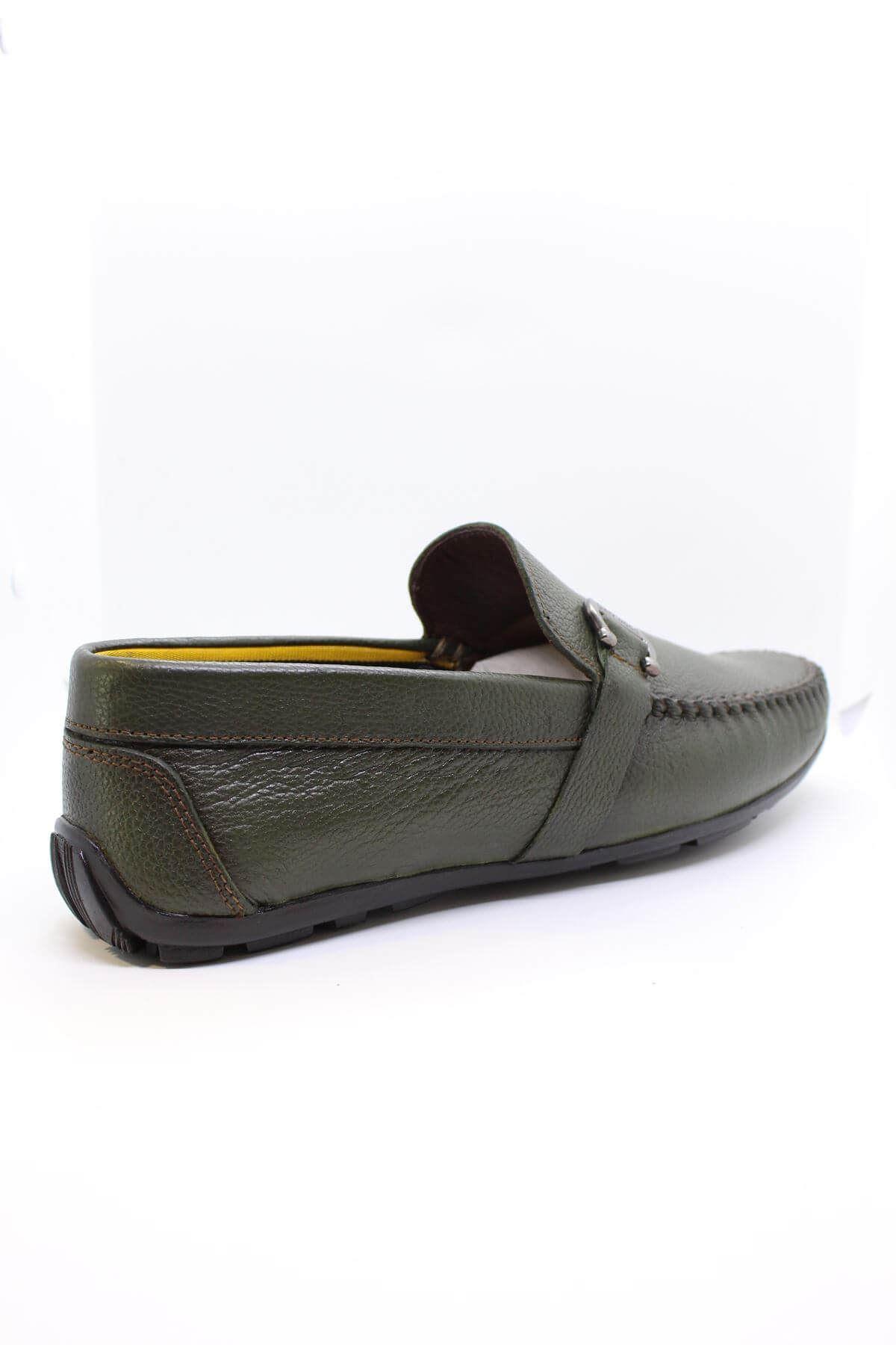 Darkwood 94501 Hakiki Deri Tokalı Haki Yeşil Erkek Ayakkabı