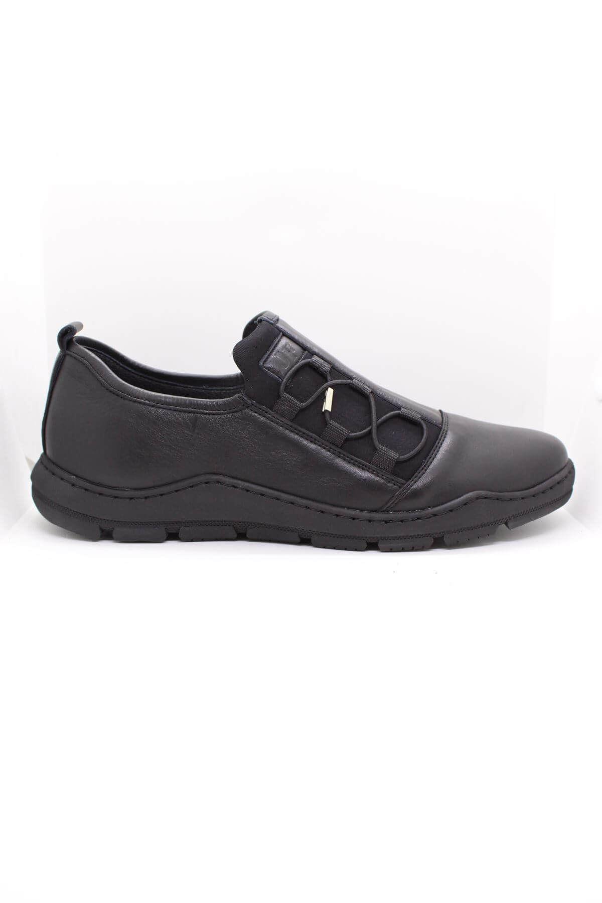 James Franco 5027 Siyah Streç Hakiki Deri Casual Ayakkabı