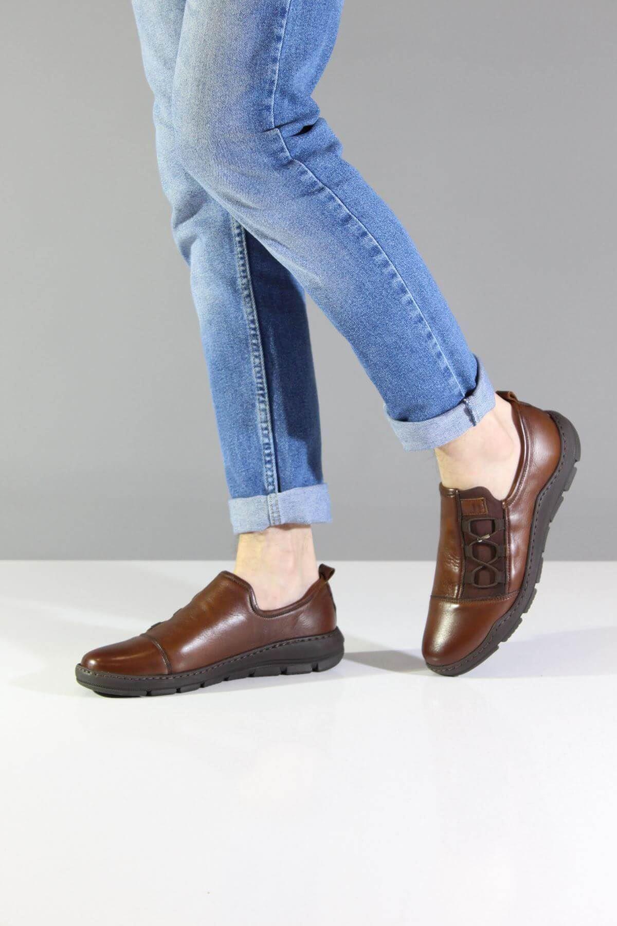 James Franco 5027 Taba Streç Hakiki Deri Casual Ayakkabı