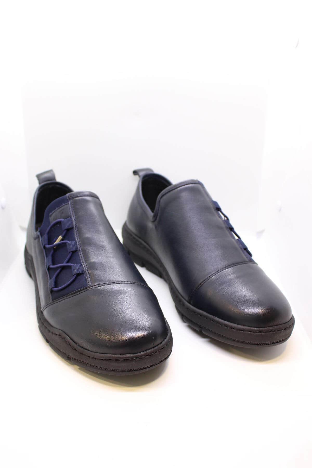 James Franco 5027 Lacivert Streç Hakiki Deri Casual Ayakkabı