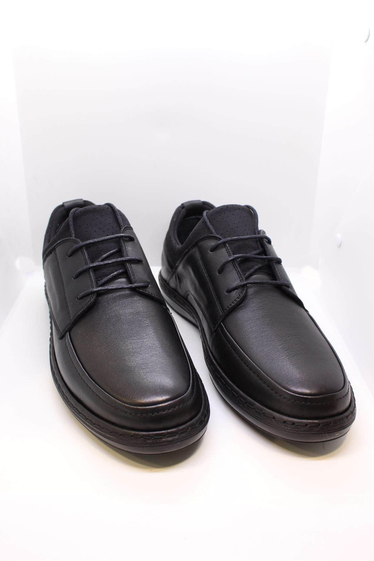 James Franco 4123 Siyah Strec Bağcıklı Hakiki Deri Casual Ayakkabı