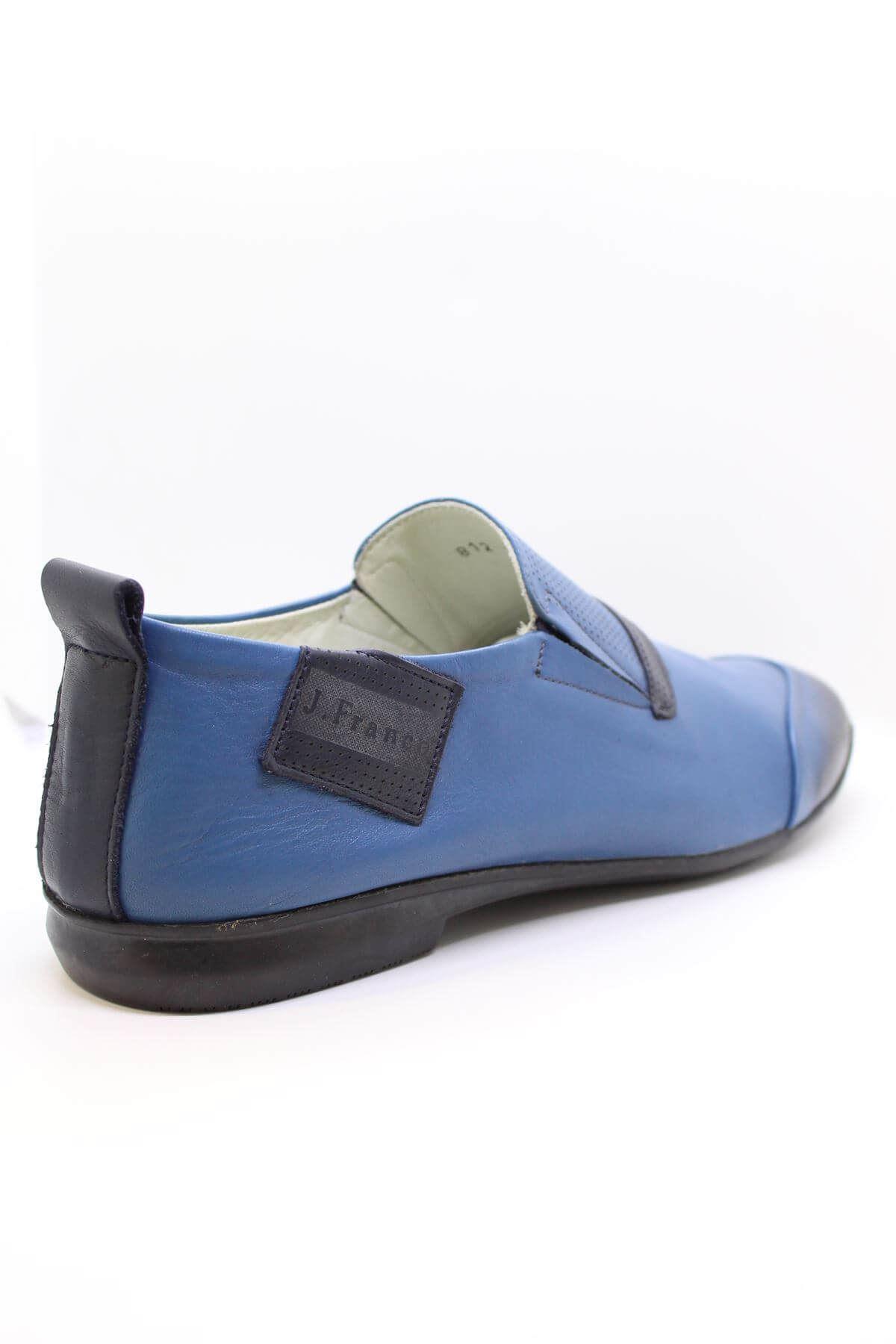 James Franco 812 Mavi Bağsız Erkek Hakiki Deri Casual Ayakkabı