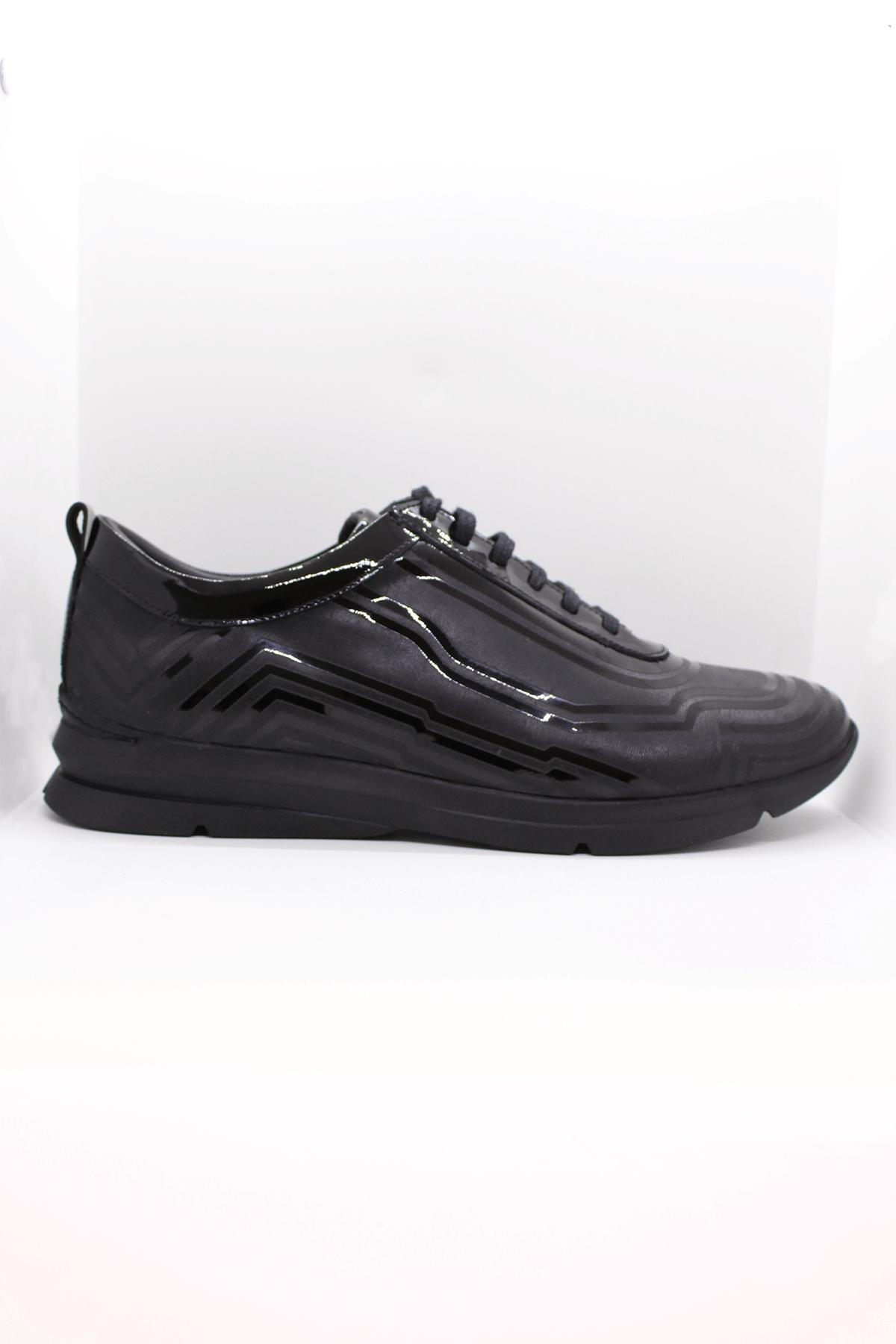 F.Marcetti 19-825-00 Siyah Casual Hakiki Deri  Ayakkabı