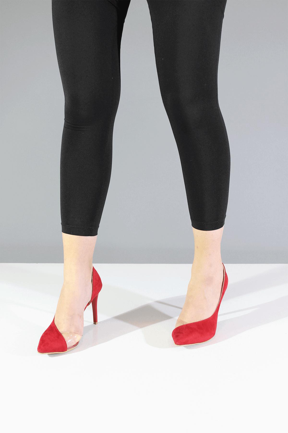 Şeffaf Kırmızı Stiletto Ayakkabı