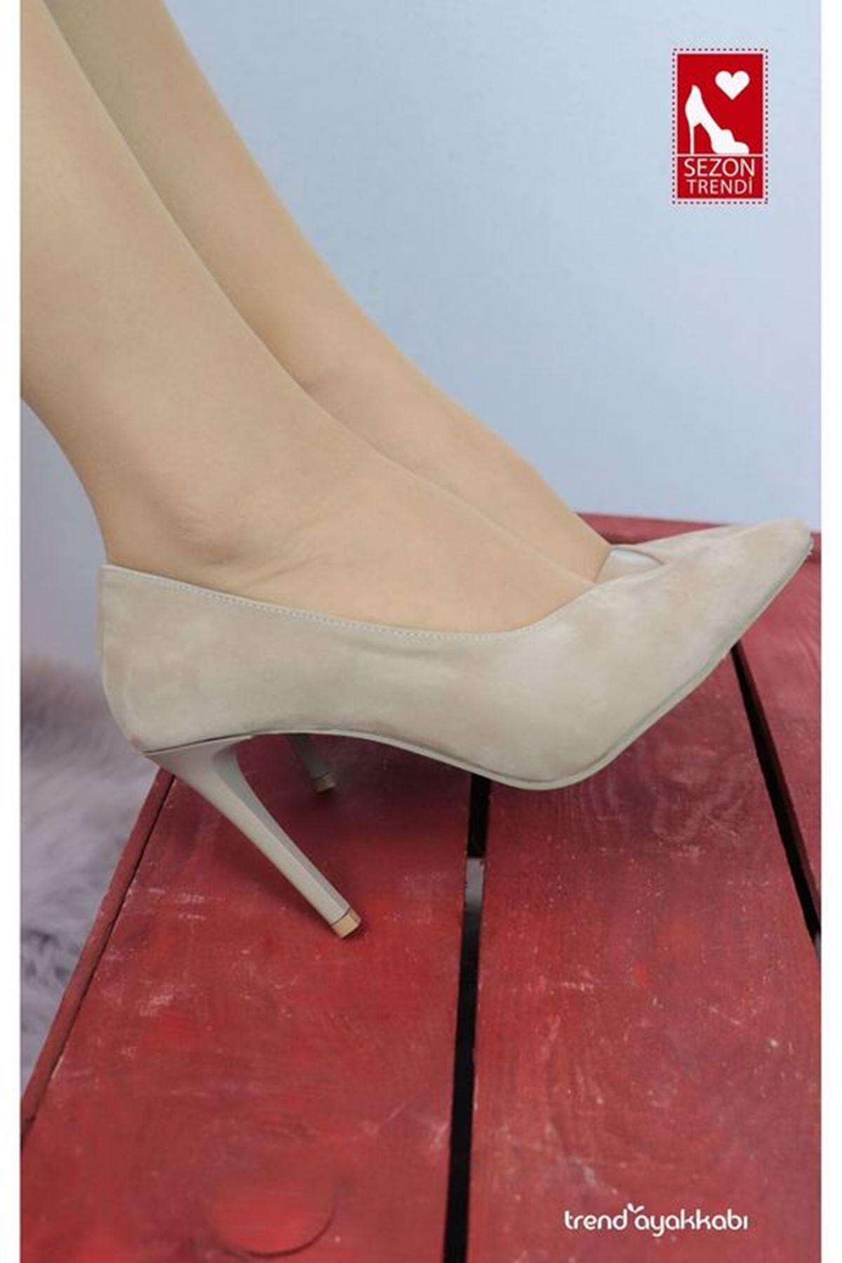 Feles - 2020 - Vizon Süet Topuklu Kadın Ayakkabısı
