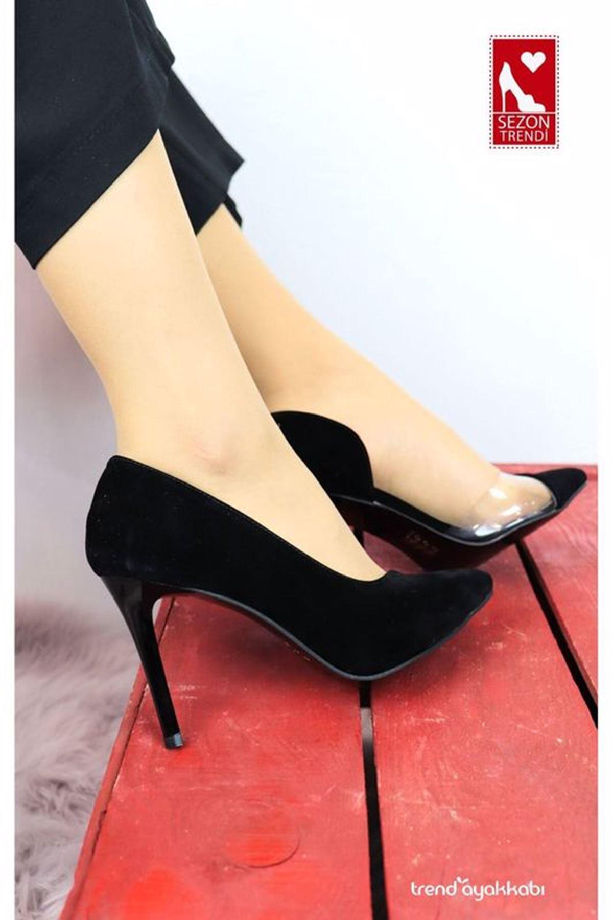 Feles - 2020 - Siyah Süet Şeffaf Detaylı Topuklu Kadın Ayakkabısı