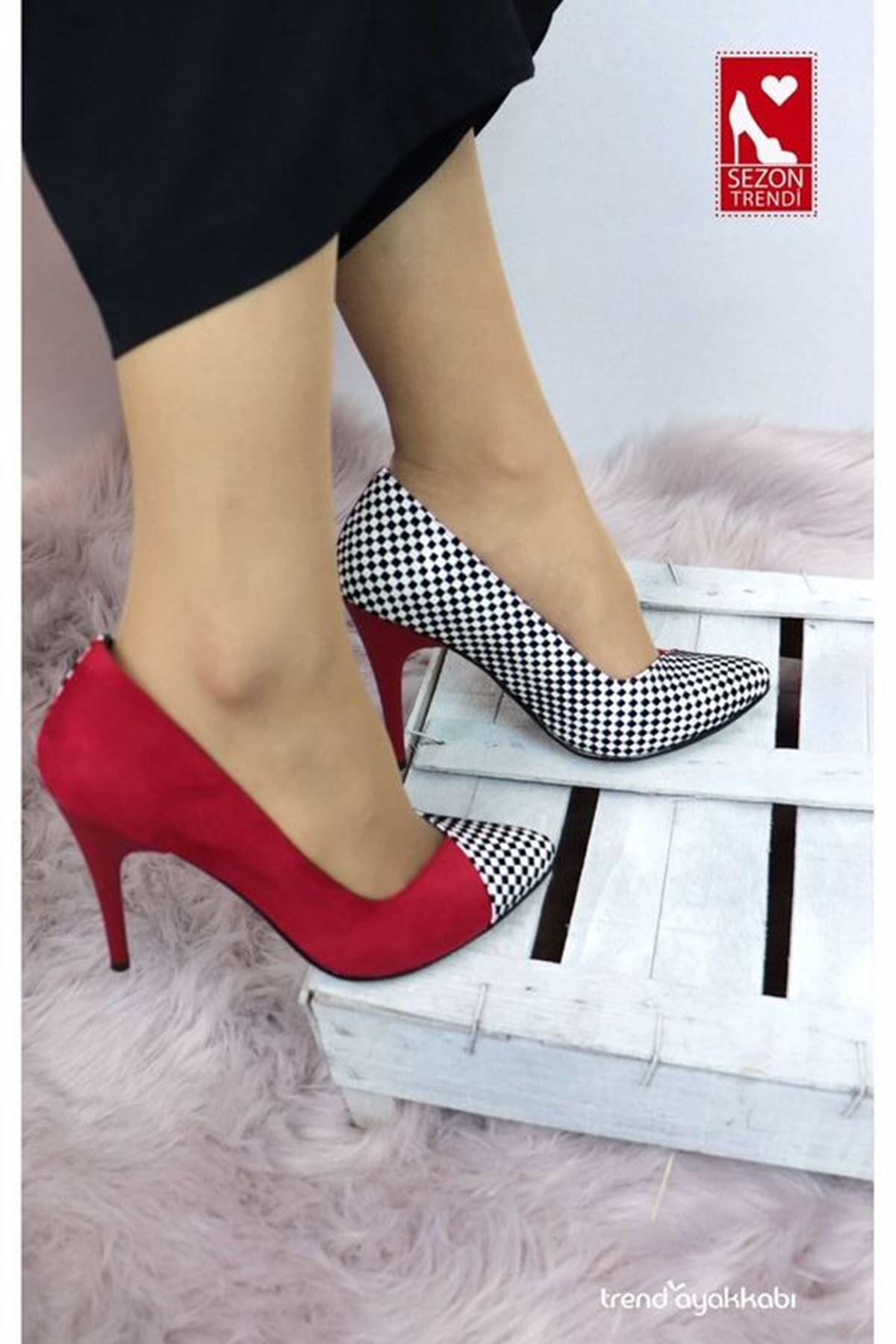 Palet - Kırmızı Kareli Topuklu Kadın Ayakkabısı