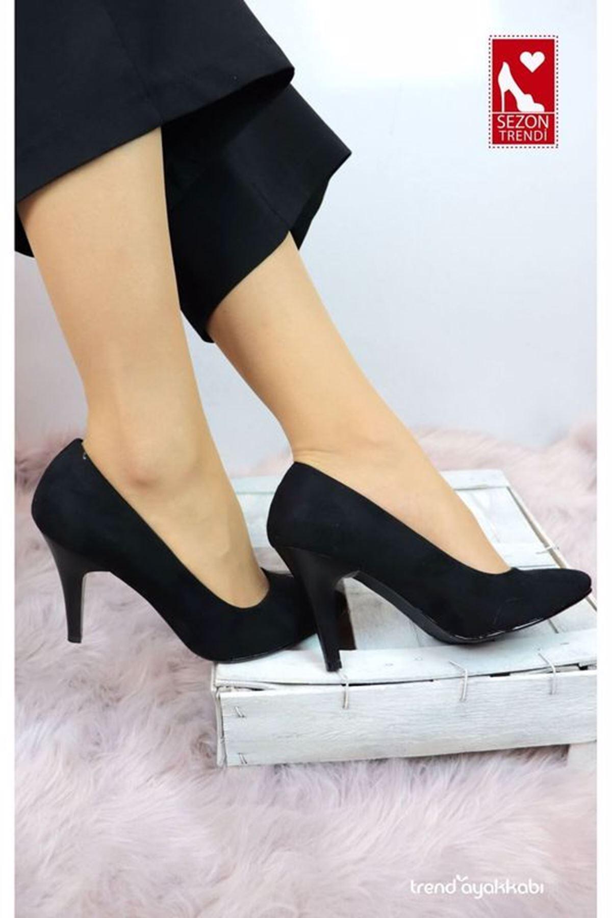 Palet - Siyah Süet Topuklu Kadın Ayakkabısı