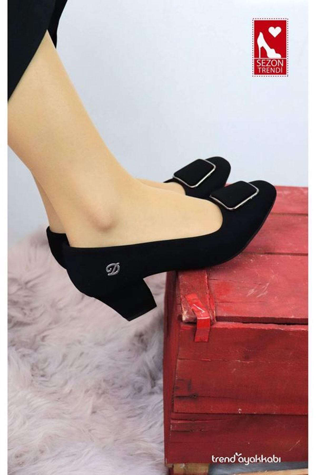 De Scario - Düz Siyah Süet Topuklu Kadın Ayakkabısı