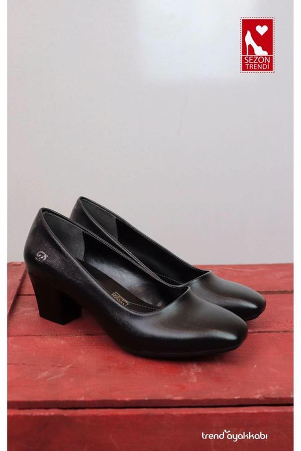 De Scario - Siyah Lazerli Topuklu Kadın Ayakkabısı