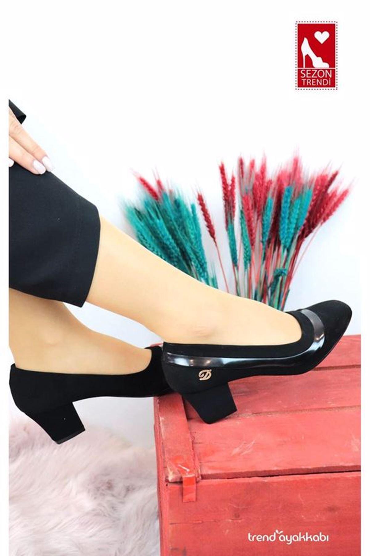 De Scario - Siyah Rugan Topuklu Kadın Ayakkabısı