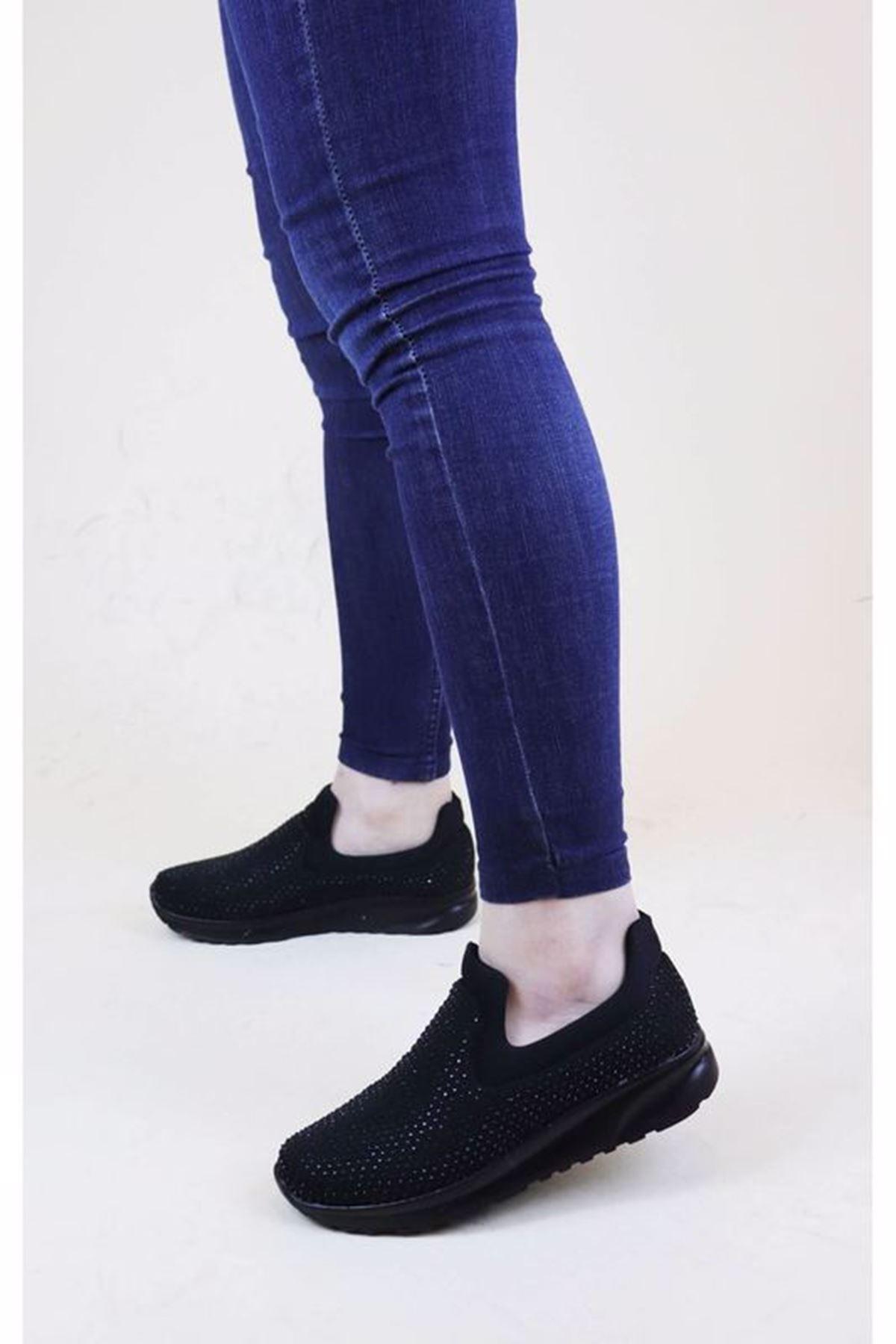 Trend Ayakkabı 1011 Siyah Taşlı Kadın Düz Ayakkabı