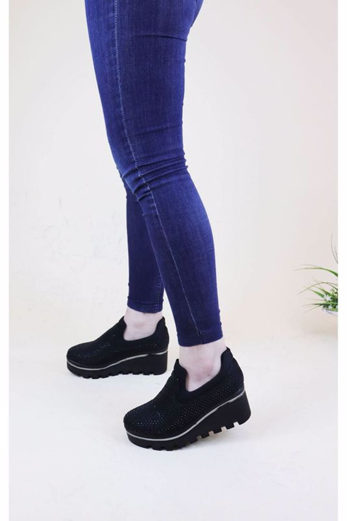 Trend Ayakkabı 1008 Kadın Taşlı Dolgu Topuk Ayakkabısı