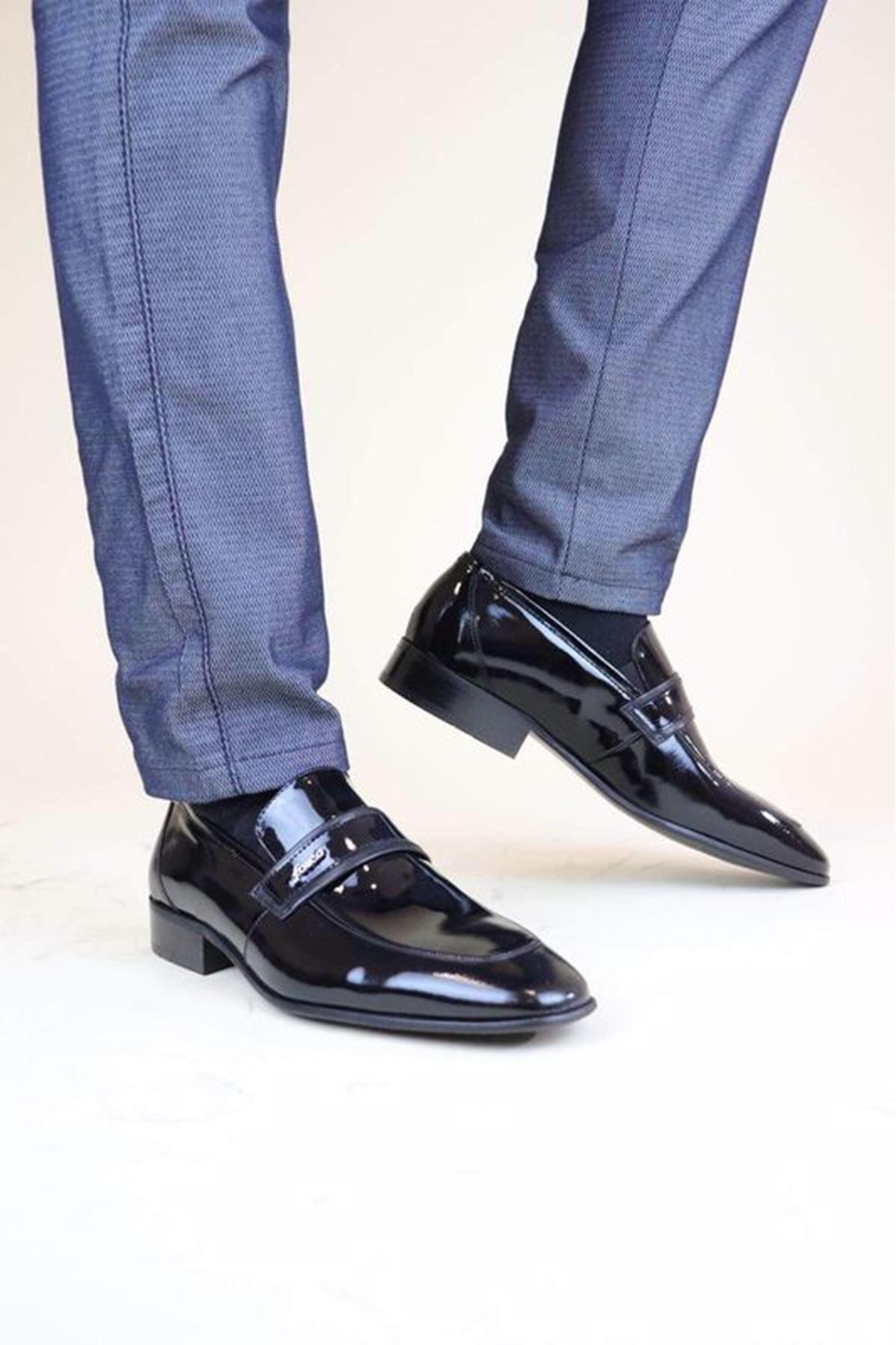 Fosco 9006 Siyah Rugan MR Klasik Neolit Erkek Ayakkabı