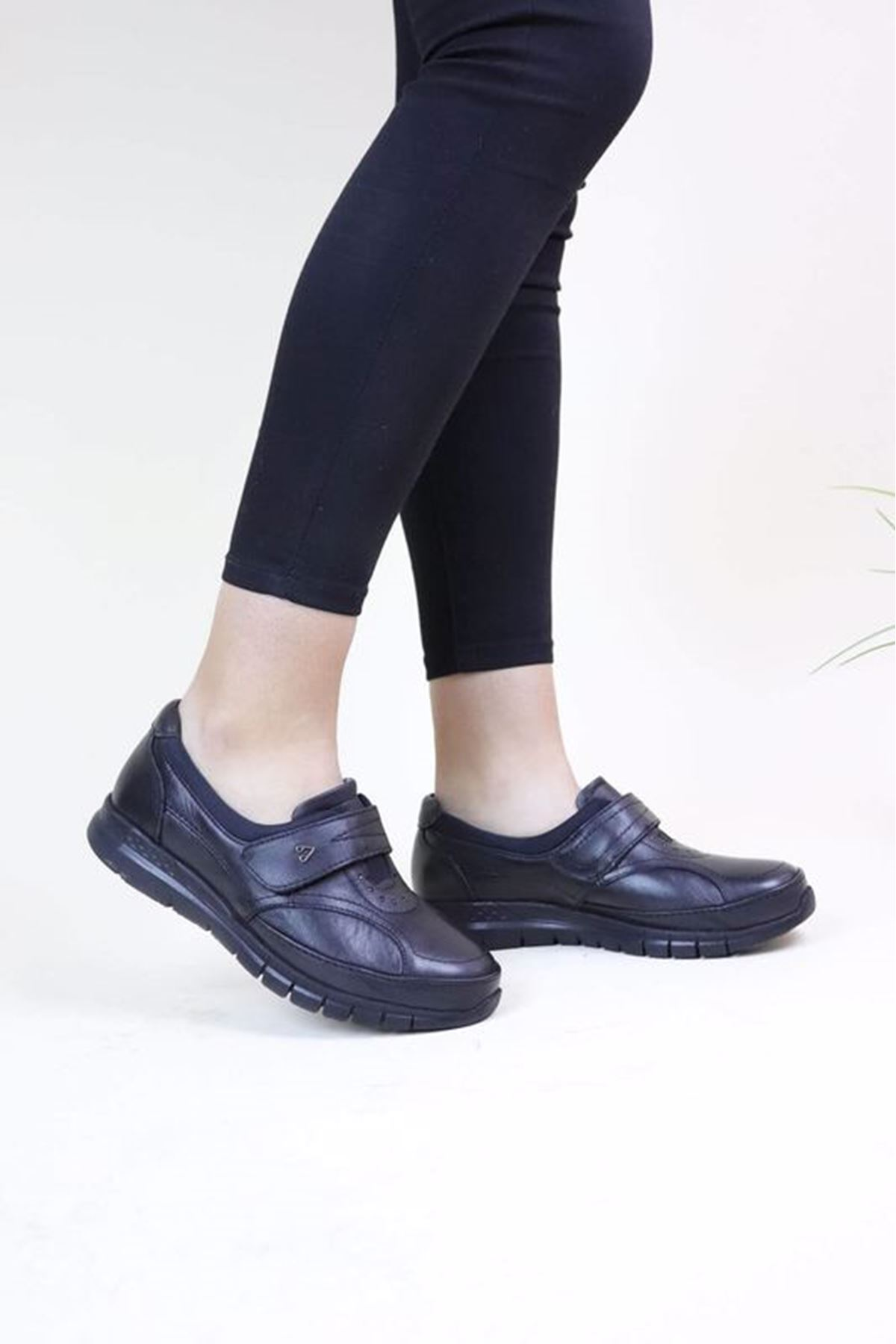 Forelli 29445 Siyah Kadın Ortopedik Ayakkabı
