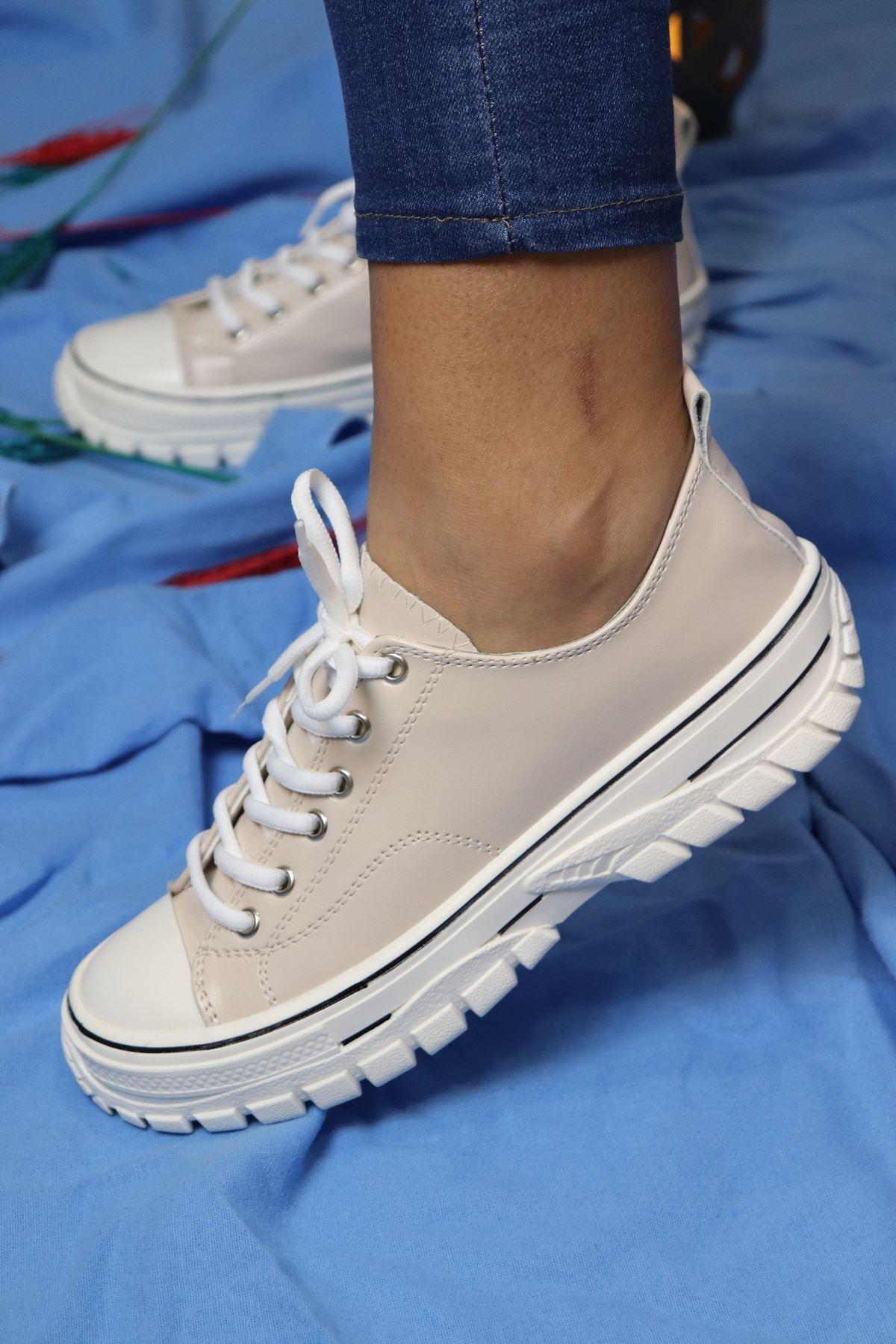 Trendayakkabı - Bej Kadın Sneakers