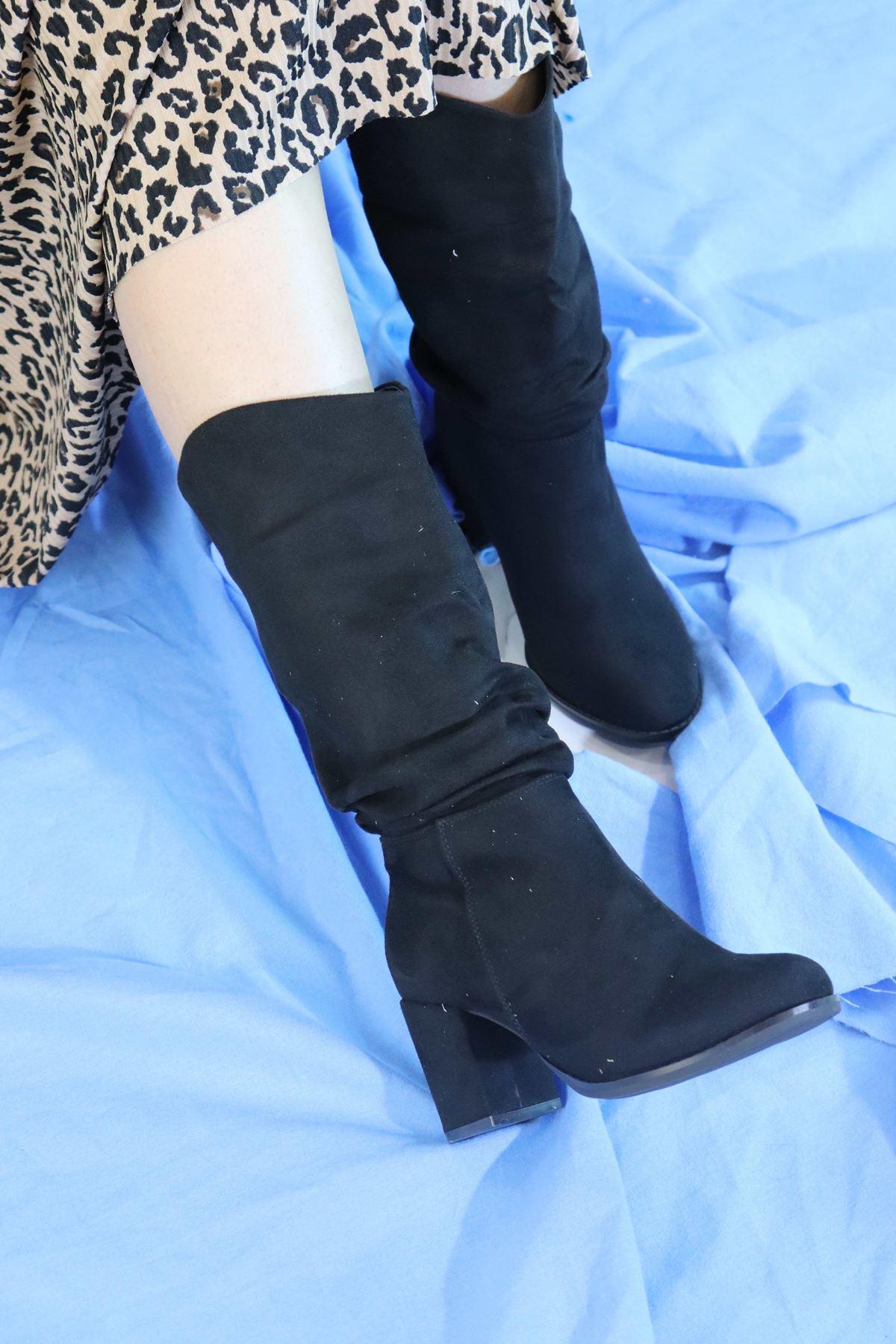 Trendayakkabi - Siyah Süet Yarım Kadın Çizme