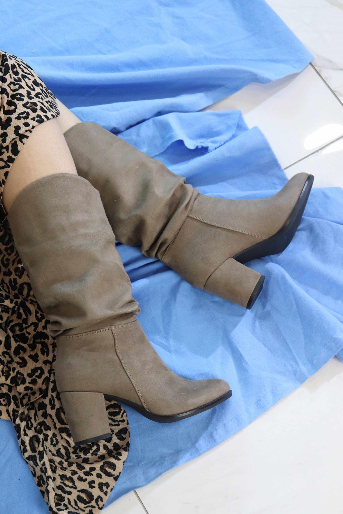 Trendayakkabi - Vizon Süet Yarım Kadın Çizme