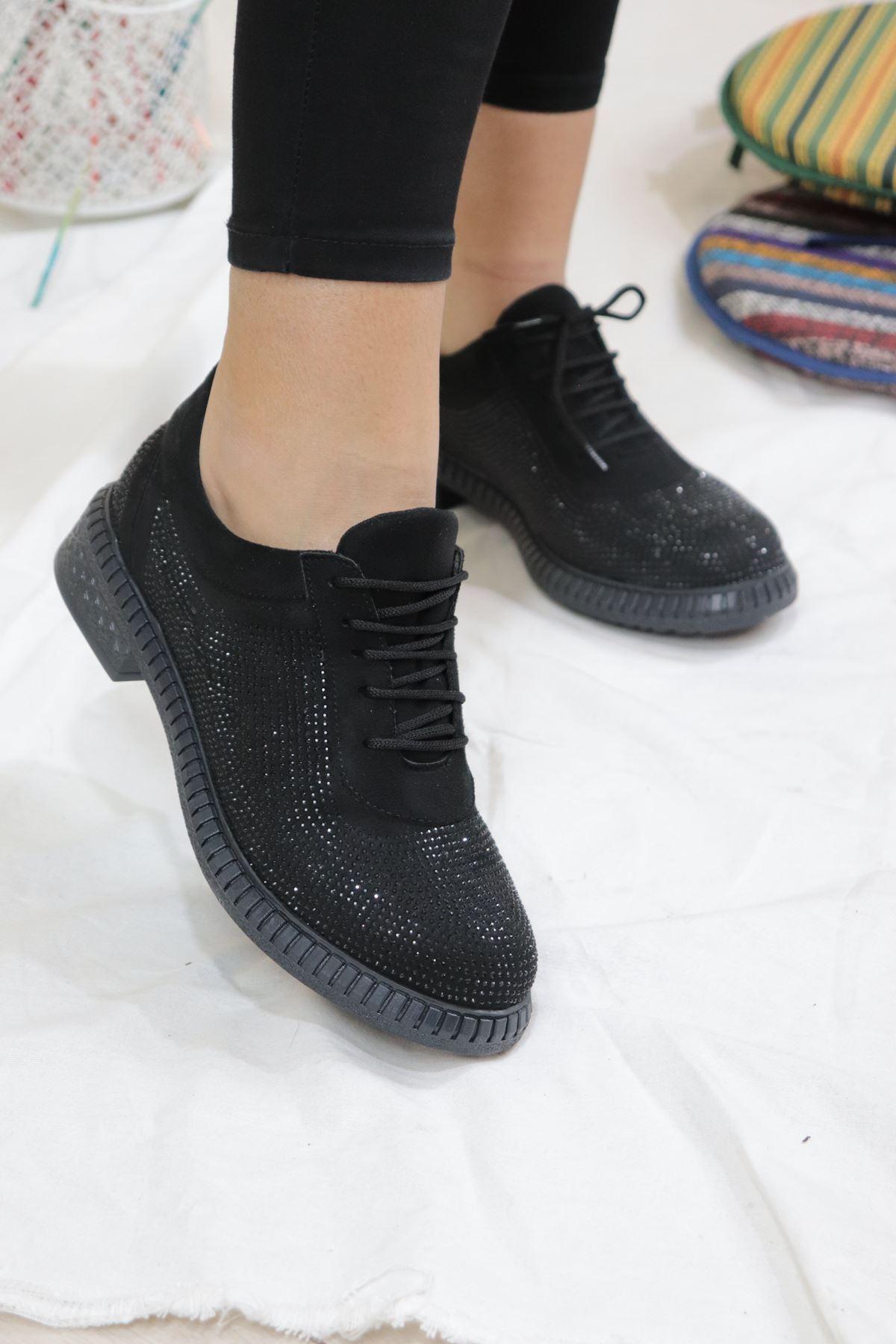 Trendayakkabı - Siyah Pullu Kadın Casual