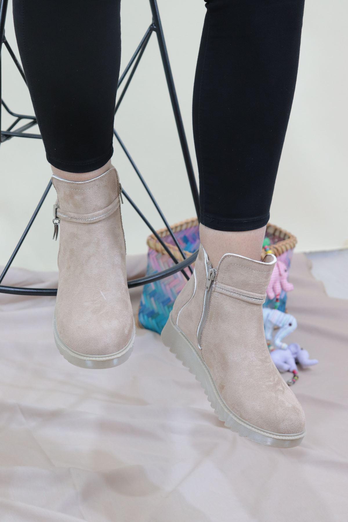 Trendayakkabı - Bej Süet Kadın Bot