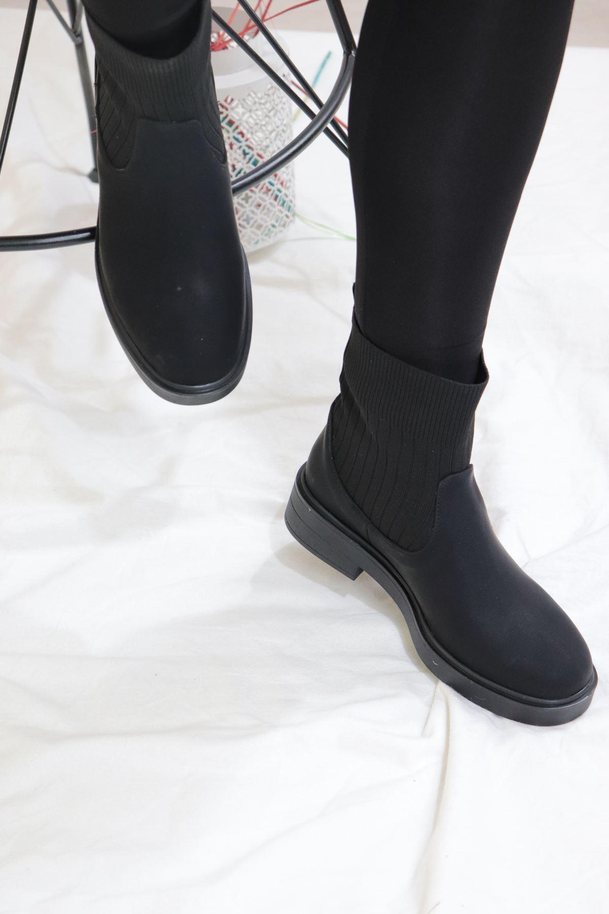 Trendayakkabı - Siyah Çorap Bot