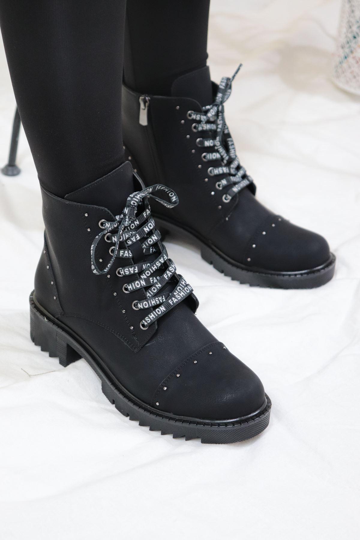 Trendayakkabı - Siyah Nubuk Kadın Bot