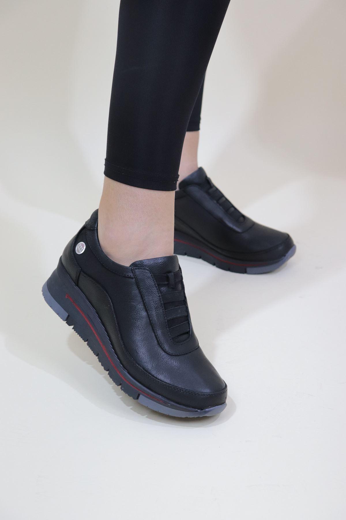 Mammamia - D20KA-275-B Siyah Dolgu Kadın Ayakkabısı