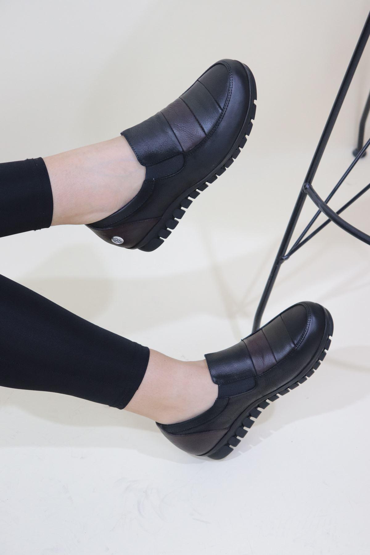 Mammamia - D20KA-250-B Siyah Cilt Kadın Ayakkabı
