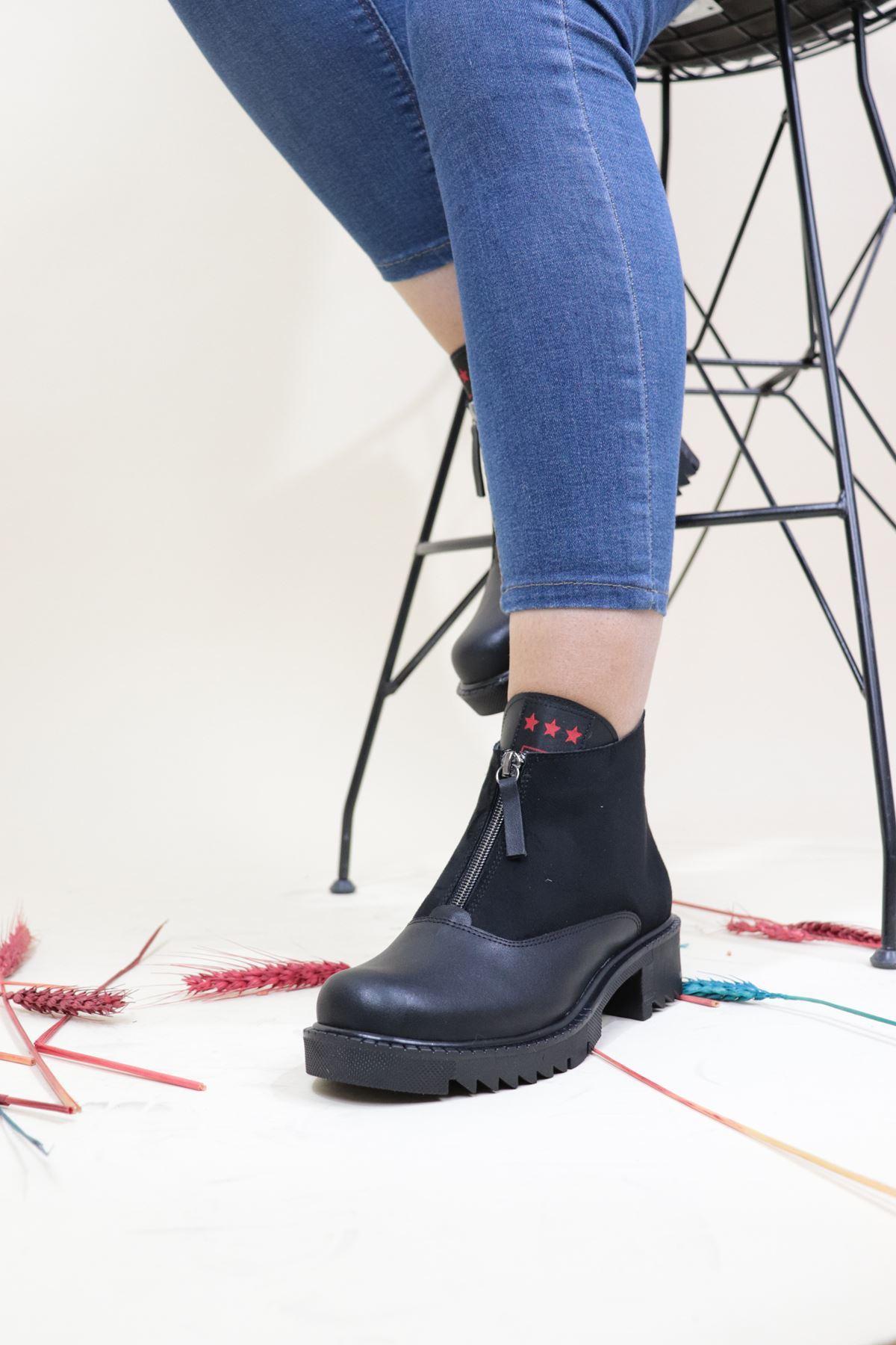 Trendayakkabı - Önü Fermuarlı Kadın Bot