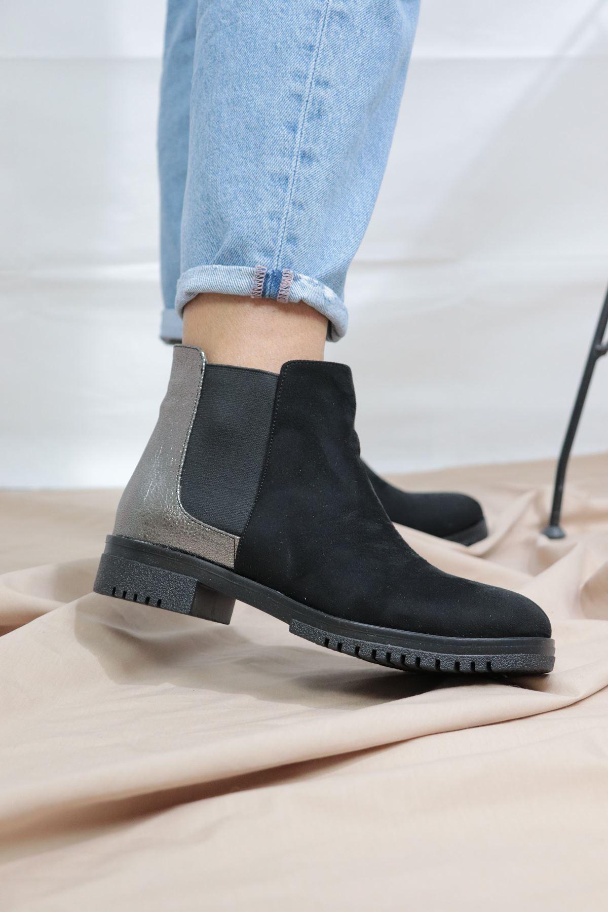 Trendayakkabı - Siyah Süet Yani Lastikli Kadın Bot