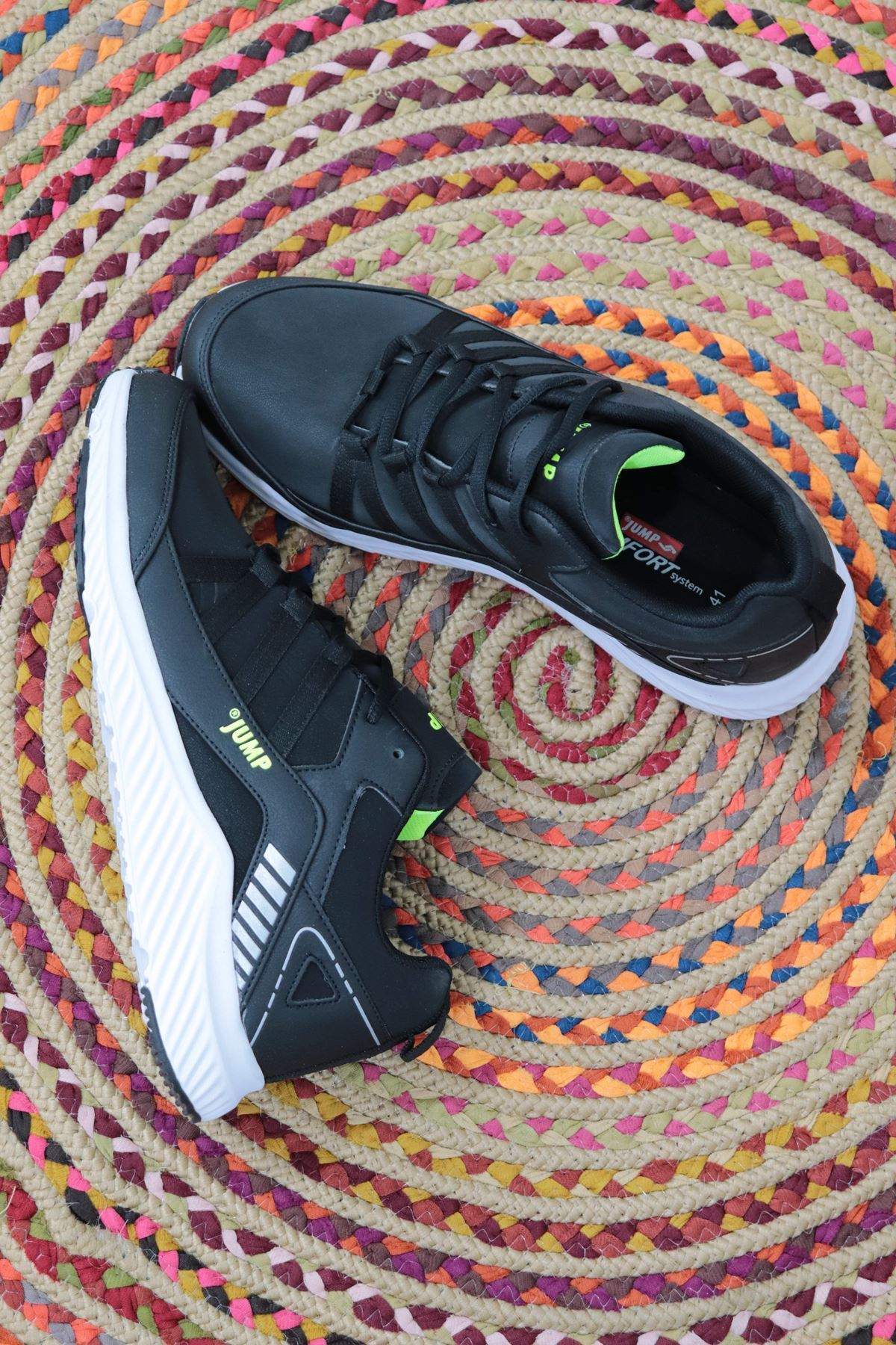 JUMP - 25932 - Siyah - Neon Yeşil Spor Ayakkabısı