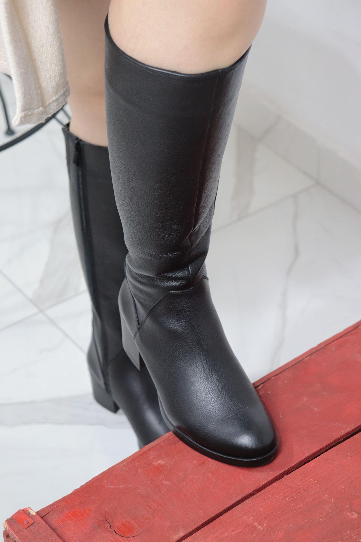 Trendayakkabi - 92900-1 Siyah Hakiki Deri Çizme