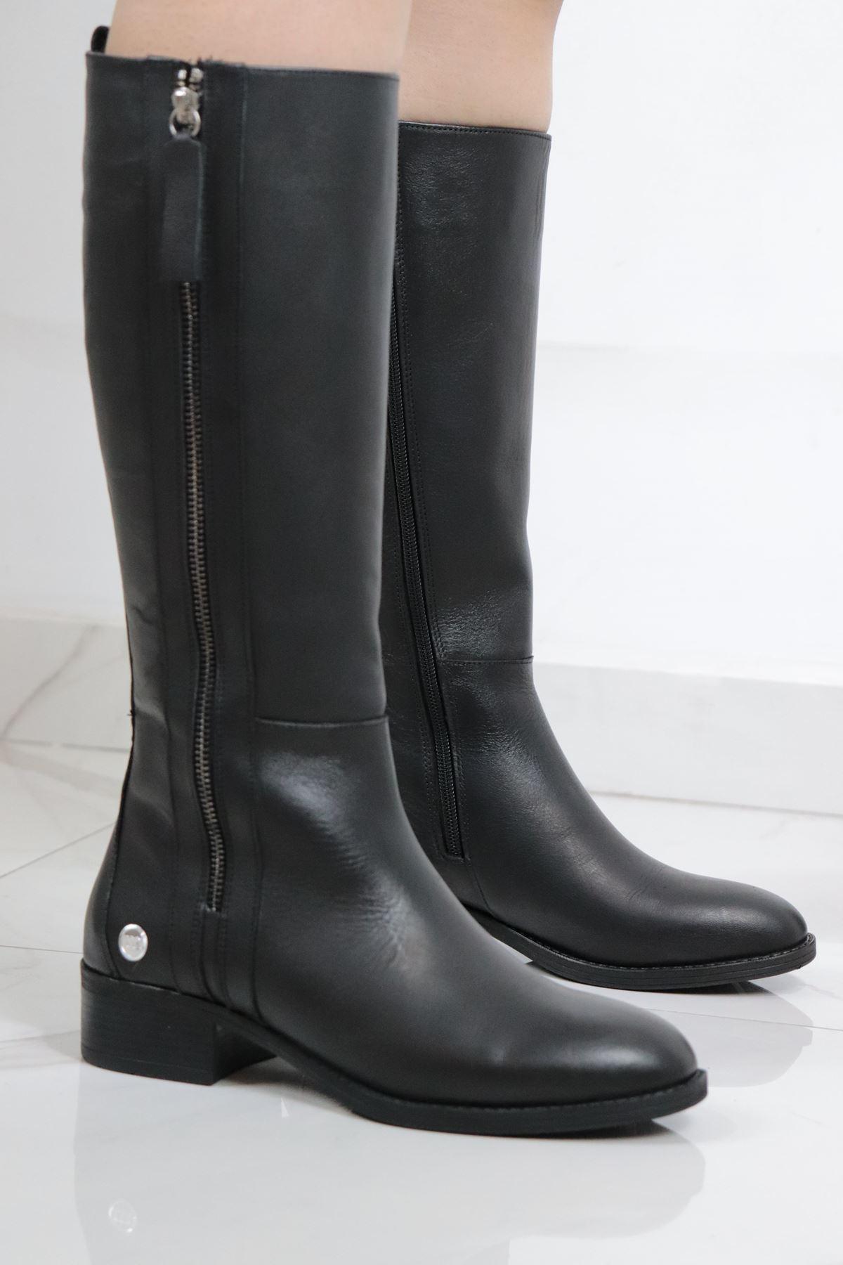 Mammamia - D20KC-2000-B Siyah Hakiki Deri Kadın Çizme