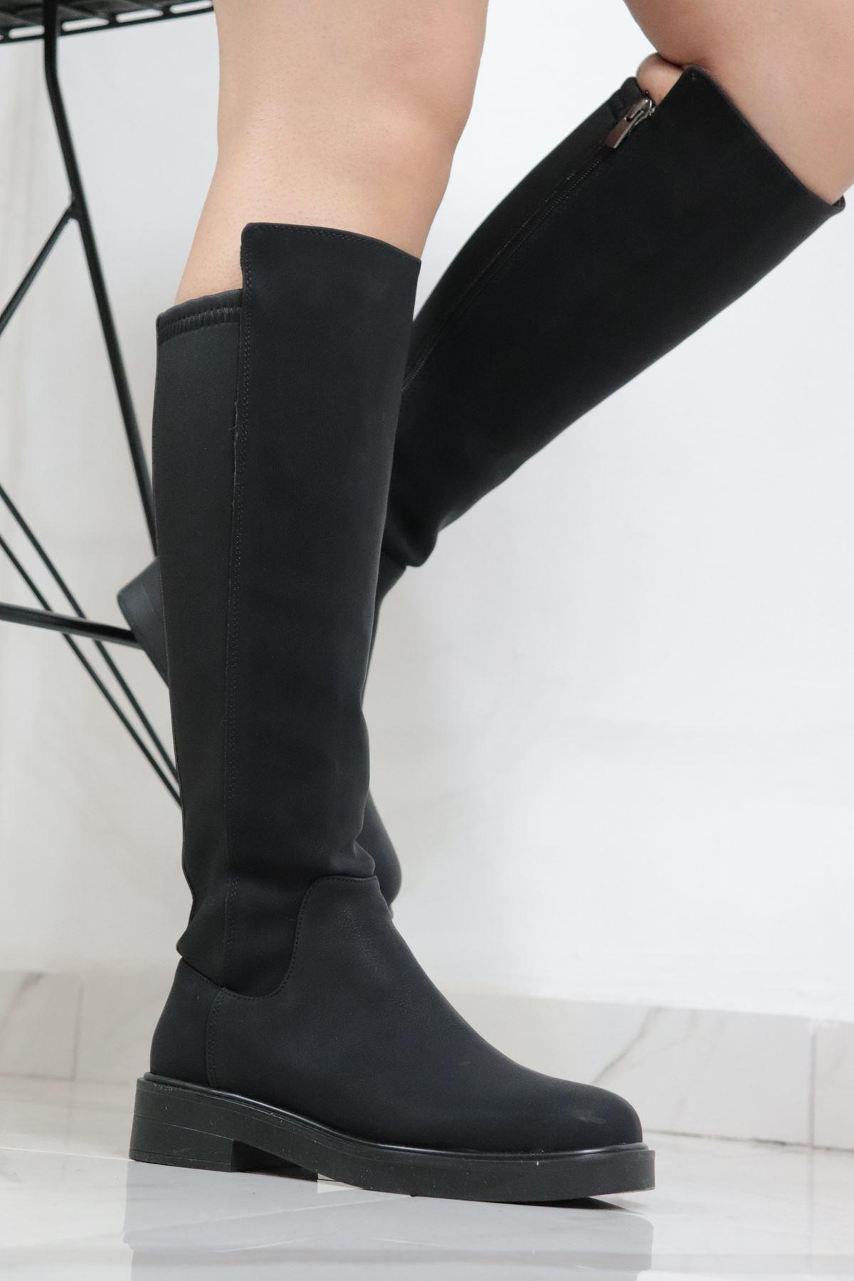 Trendayakkabi - Siyah Streç Kadın Çizme