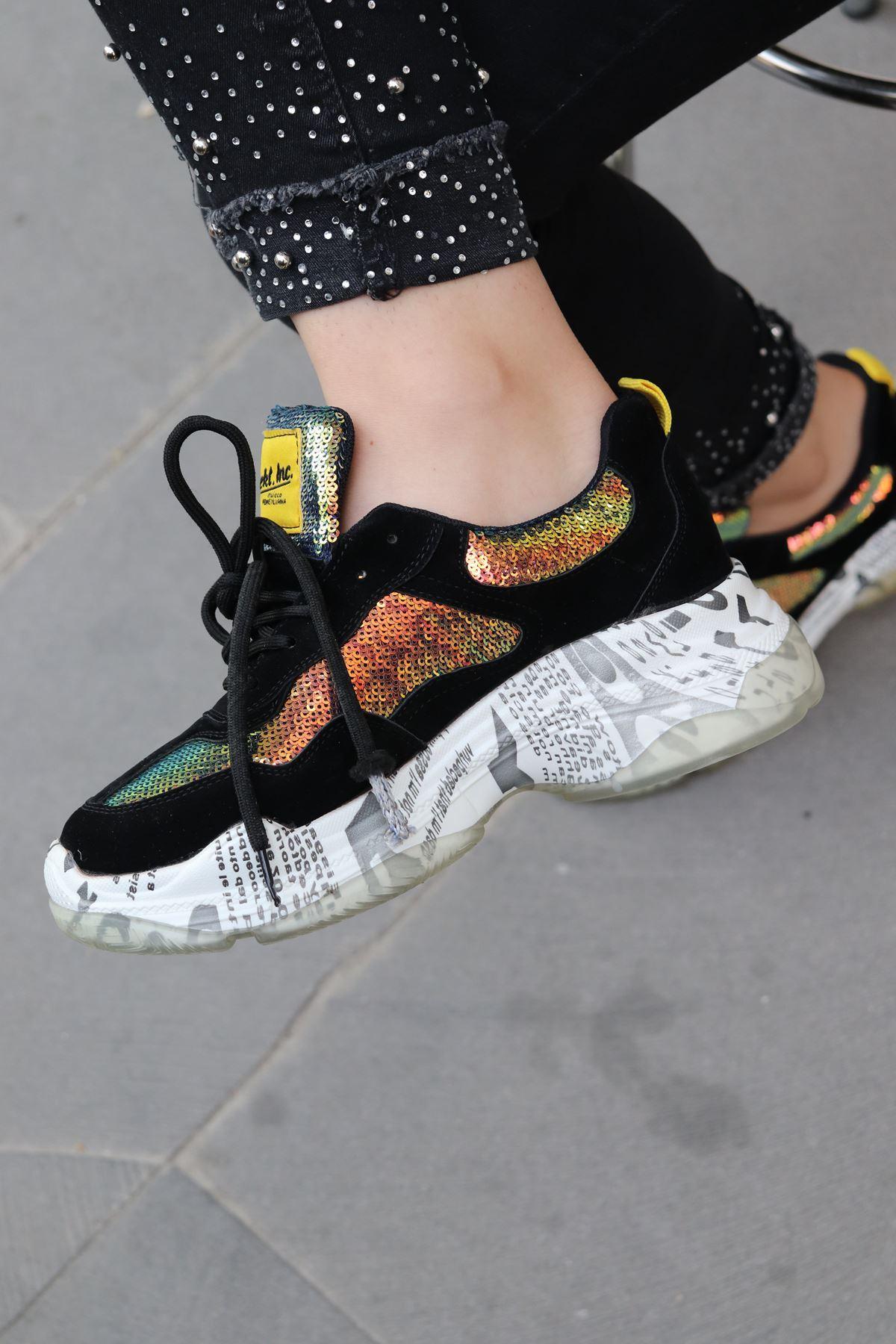 Guja - Siyah Pullu Kadın Sneakers