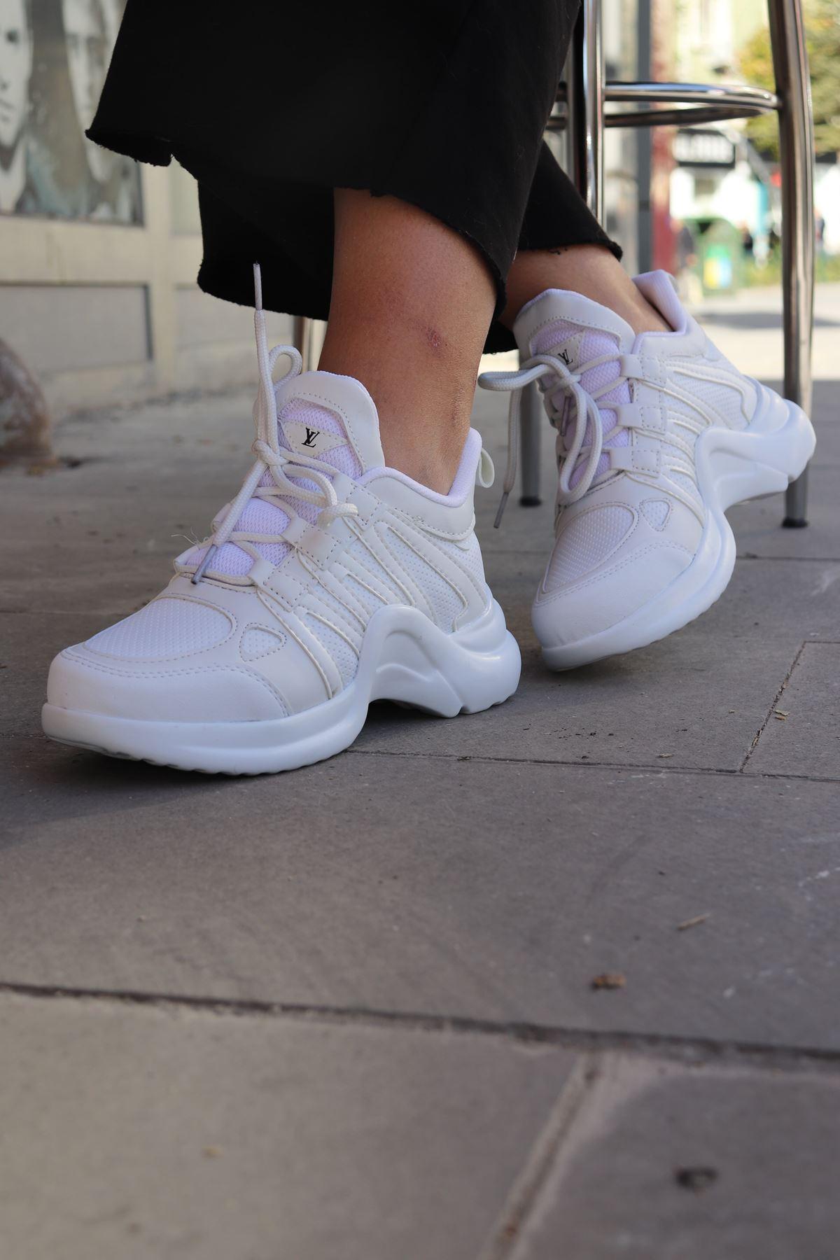 Trendayakkabı - Beyaz Kalın Taban Kadın Spor Ayakkabısı